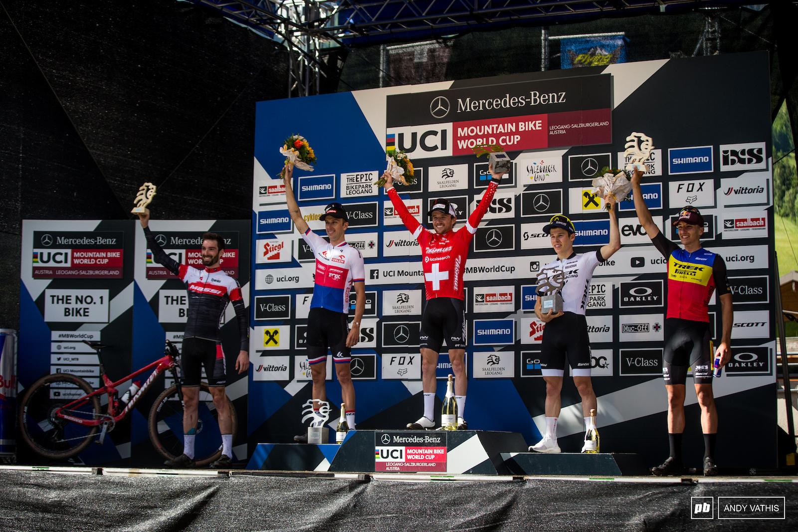Your top 5 men elite 1st Thomas Flueckiger 2nd Ondrej Cink 3rd Anton Cooper 4th Thomas Griot and 5th Vlad Dascalu