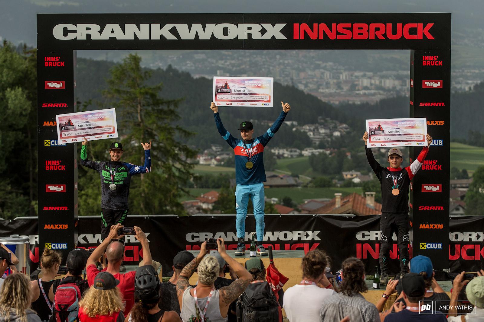 Your Men s Elite podium 1st Loris Vergier 2nd Troy Brosnan 3rd Finn Iles