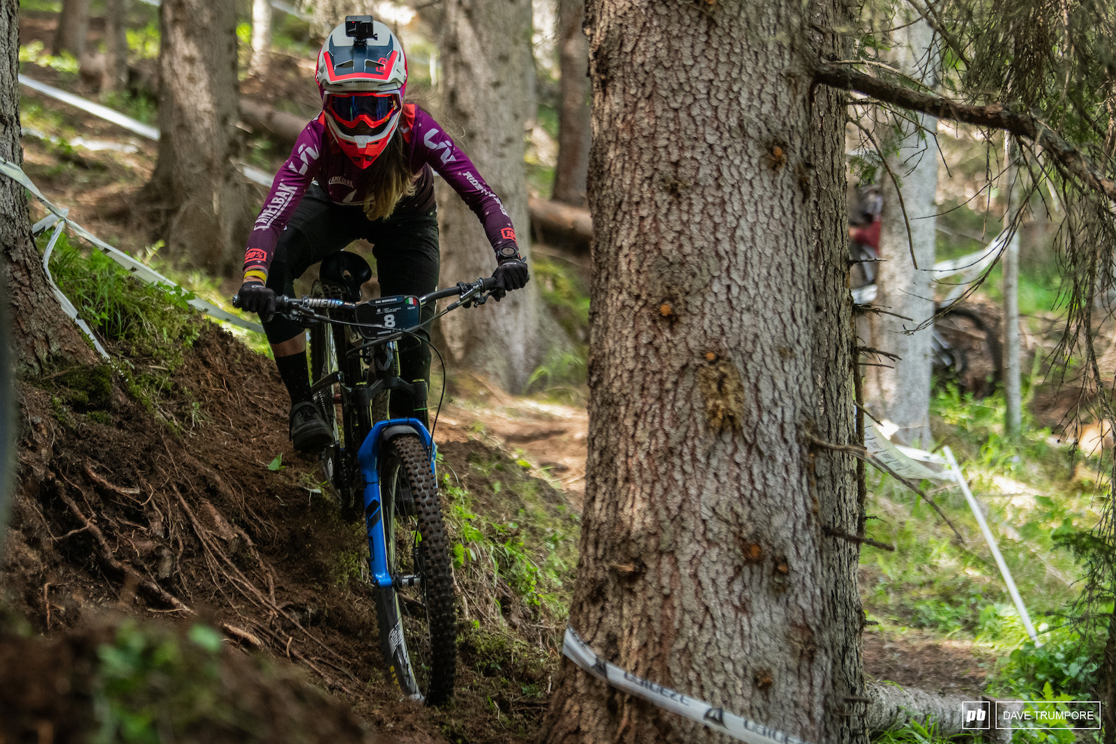 Rae Morrison navigates the roots on an off camber inside line on stage 1
