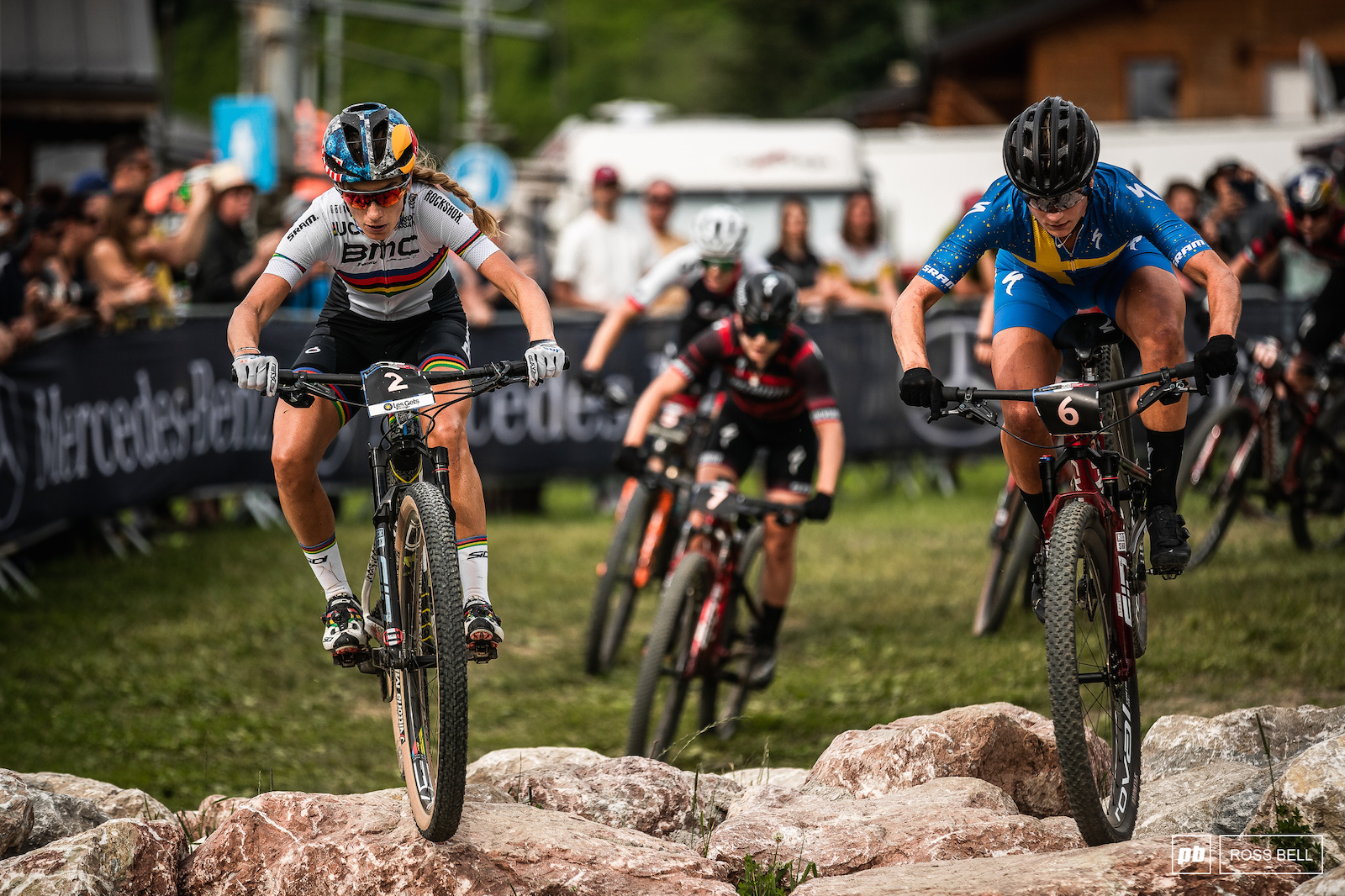 Pauline Ferrand Prevot and Jenny Rissveds justle for position mid-race.