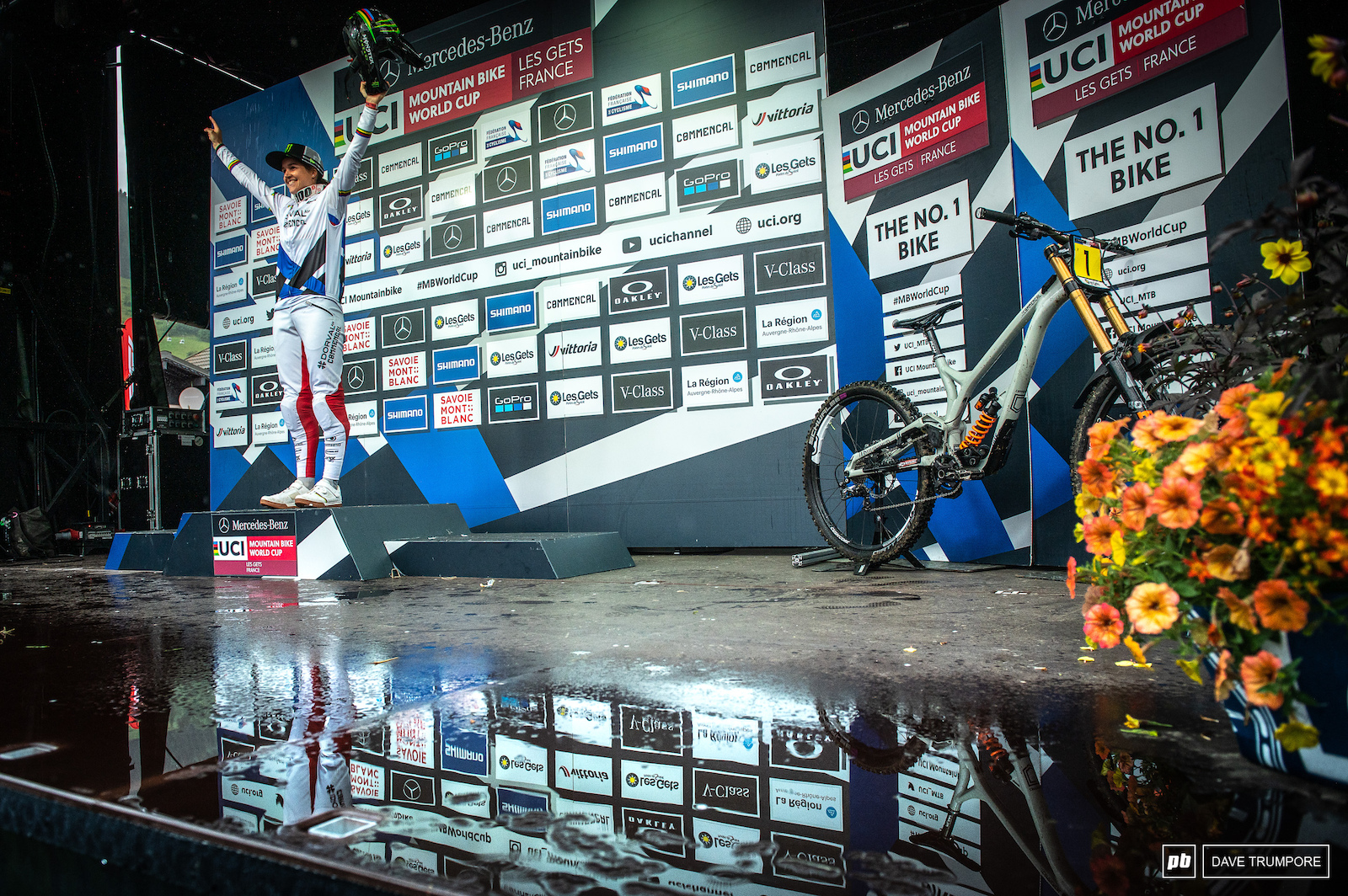 World Champ Camille Balanche leaves Les Gets in the World Cup leaders jersey
