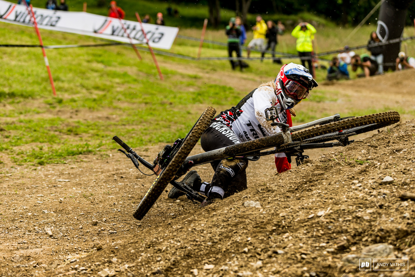 Vali Holl cannot catch a break it seems. The last berm was a hard packed sheet of ice with all the rain that fell.