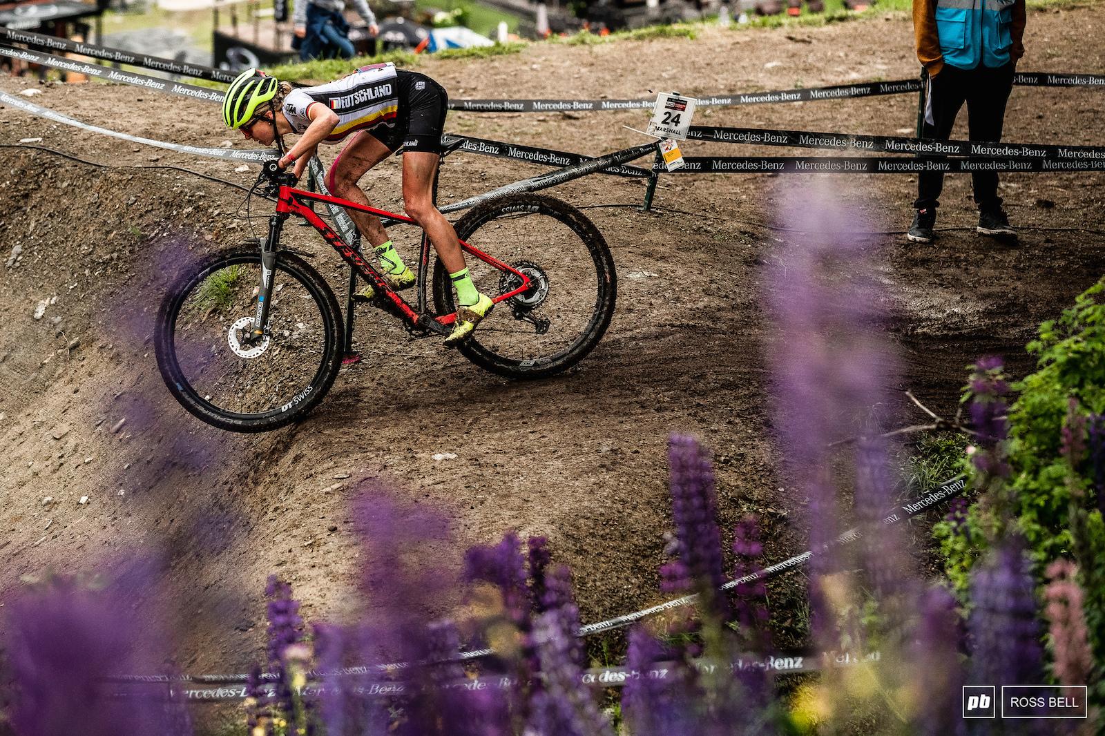Leonie Daubermann once again takes to the junior women podium.