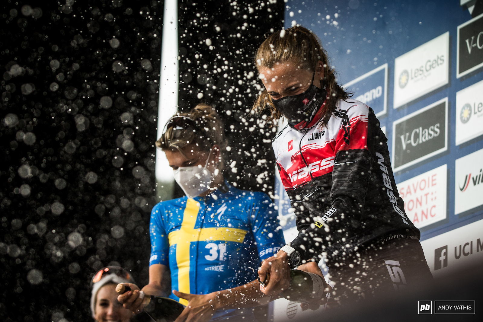 One more shower for the top women and it s bubbly.