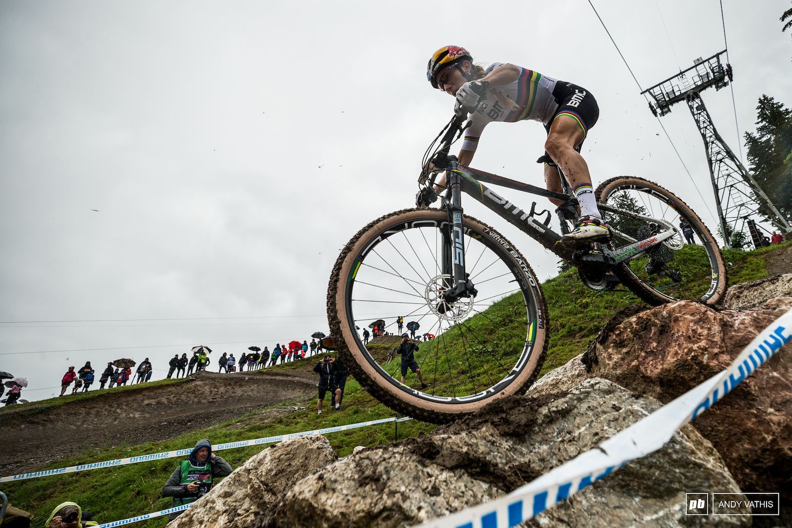 Pauline Ferrand Prevot doing the French proud and into the fourth spot on the podium.