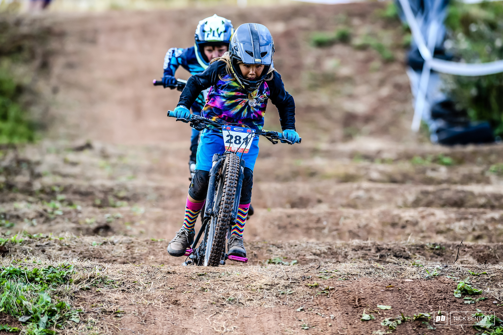 Jacob Washbourne powering his little bike through the whoops.