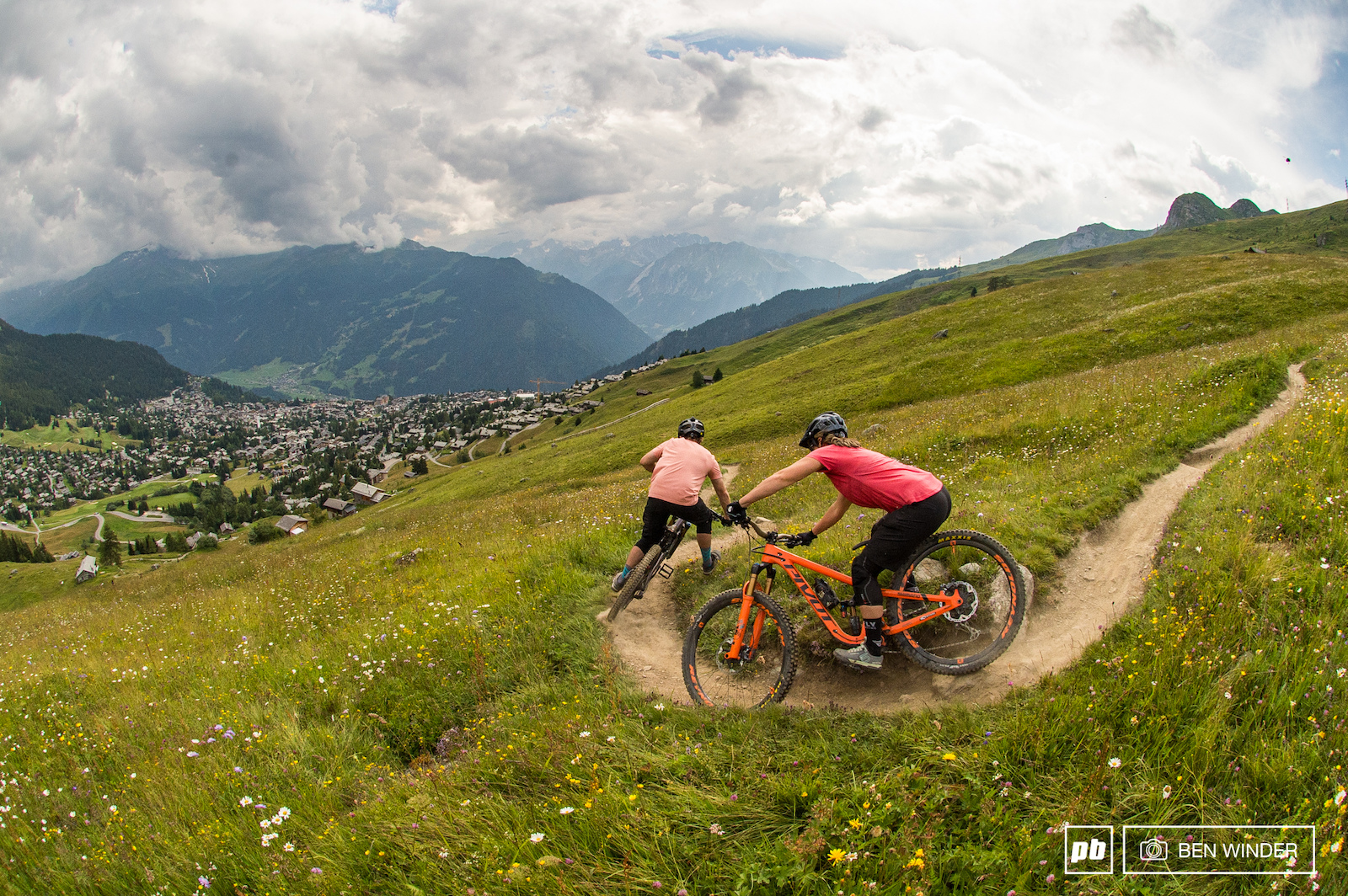 James and Morgane dropping into Verbier on one of the many singletracks.