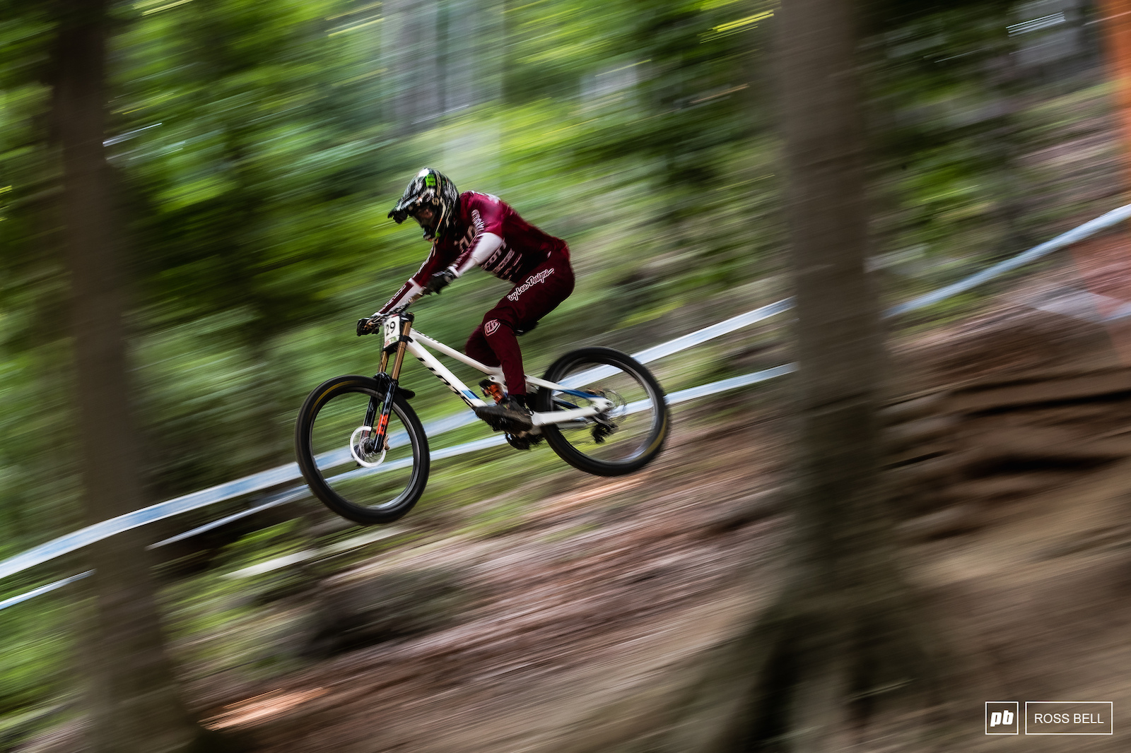 Brendan Fairclough find a brief moment of smooth through the rough and rutted out Maribor track.