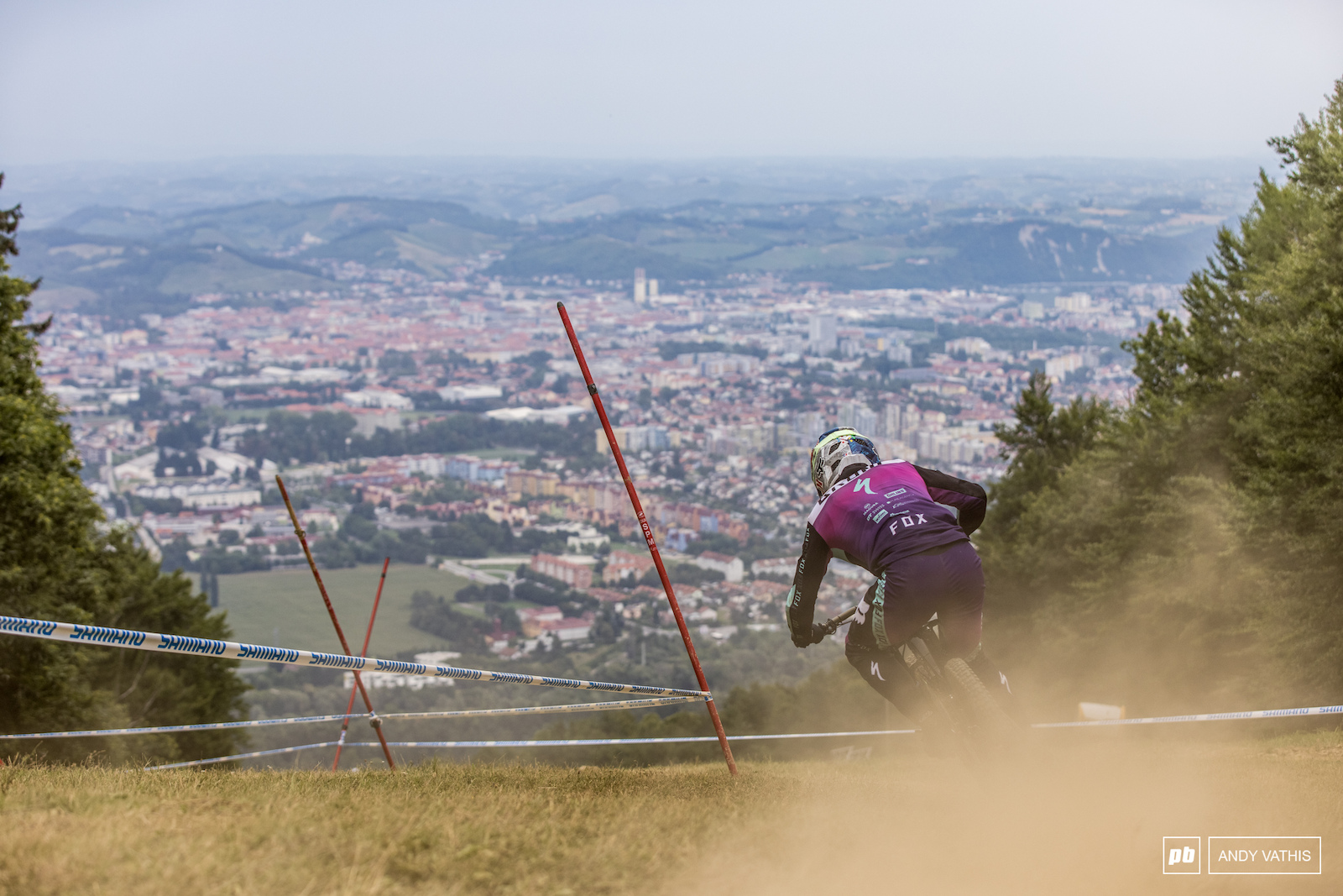 Loic Bruni out in the hazy heat lingering over Maribor.