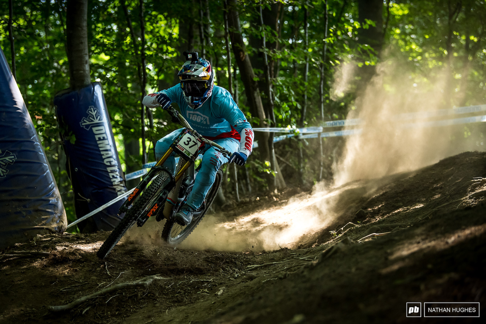 Brook MacDonald full throttle into the first compression in the top woods.