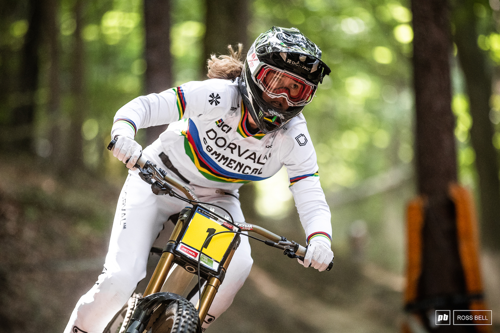 World Champ Camille Balanche with the number 1 plate on her bike for good measure. She ended the day third fastest.