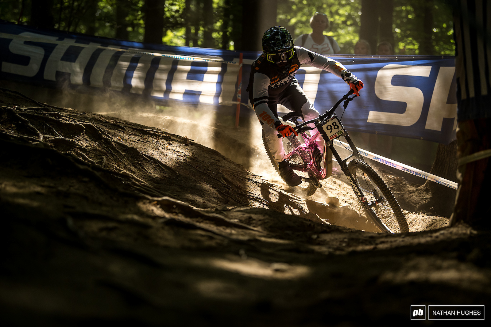 Back from his broken arm in Leogang Chuck Harrison illuminating his surroundings with some chrome pink.