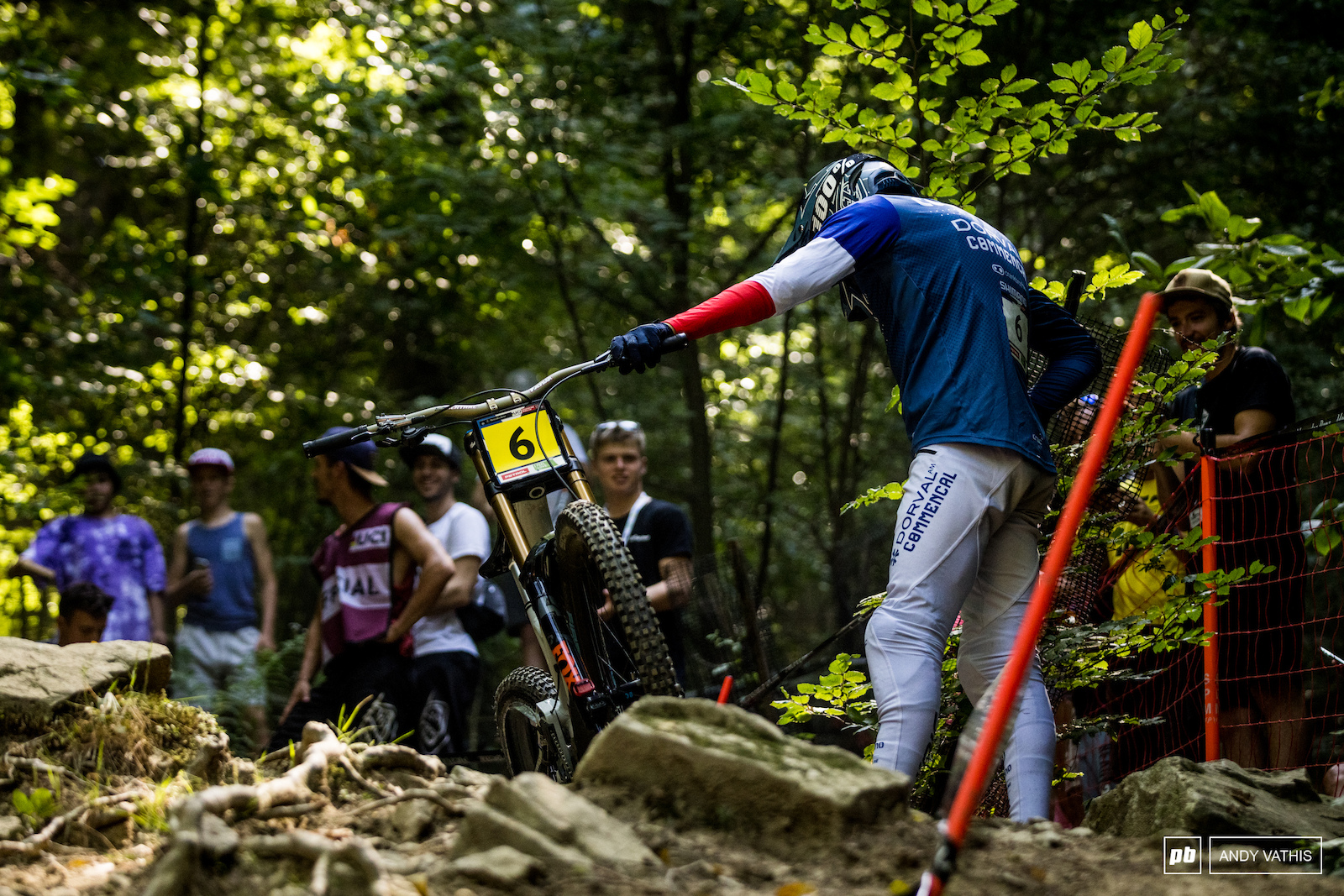 Bad luck for Benoit Coulanges as he blows out a tire right above the rock garden.
