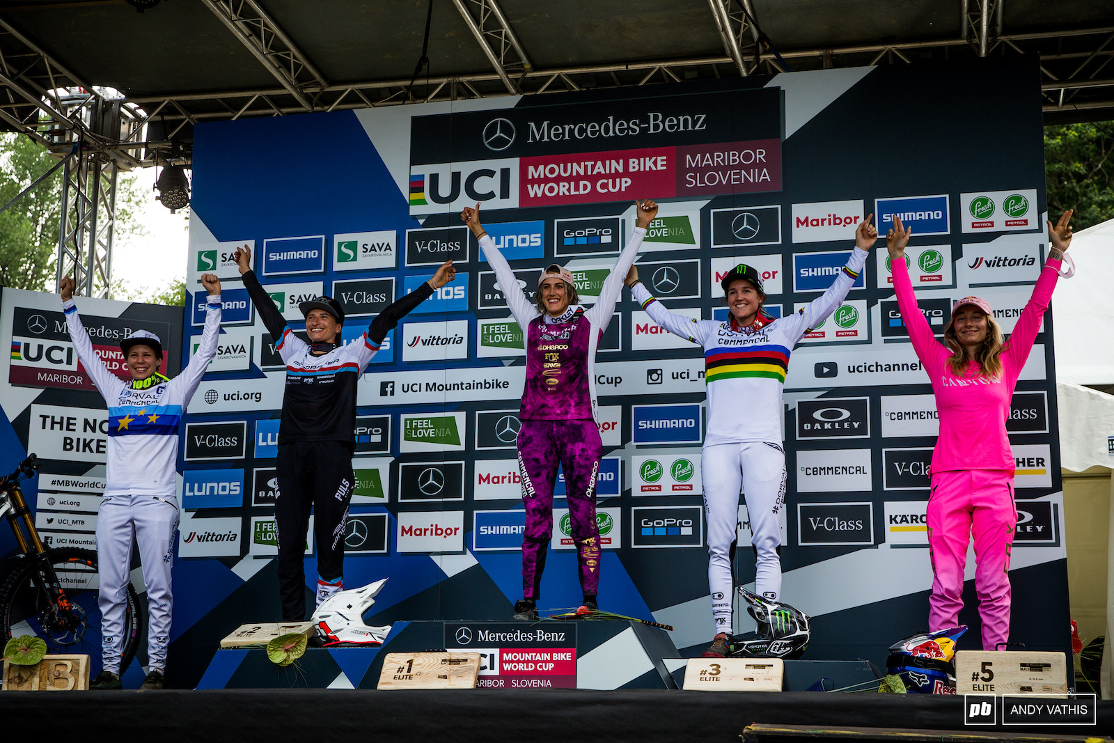 Your Women s Elite podium 1st Myriam Nicole 2nd Eleonora Farina 3rd Camille Balanche 4th Monika Hrastnik and 5th Tahnee Seagrave