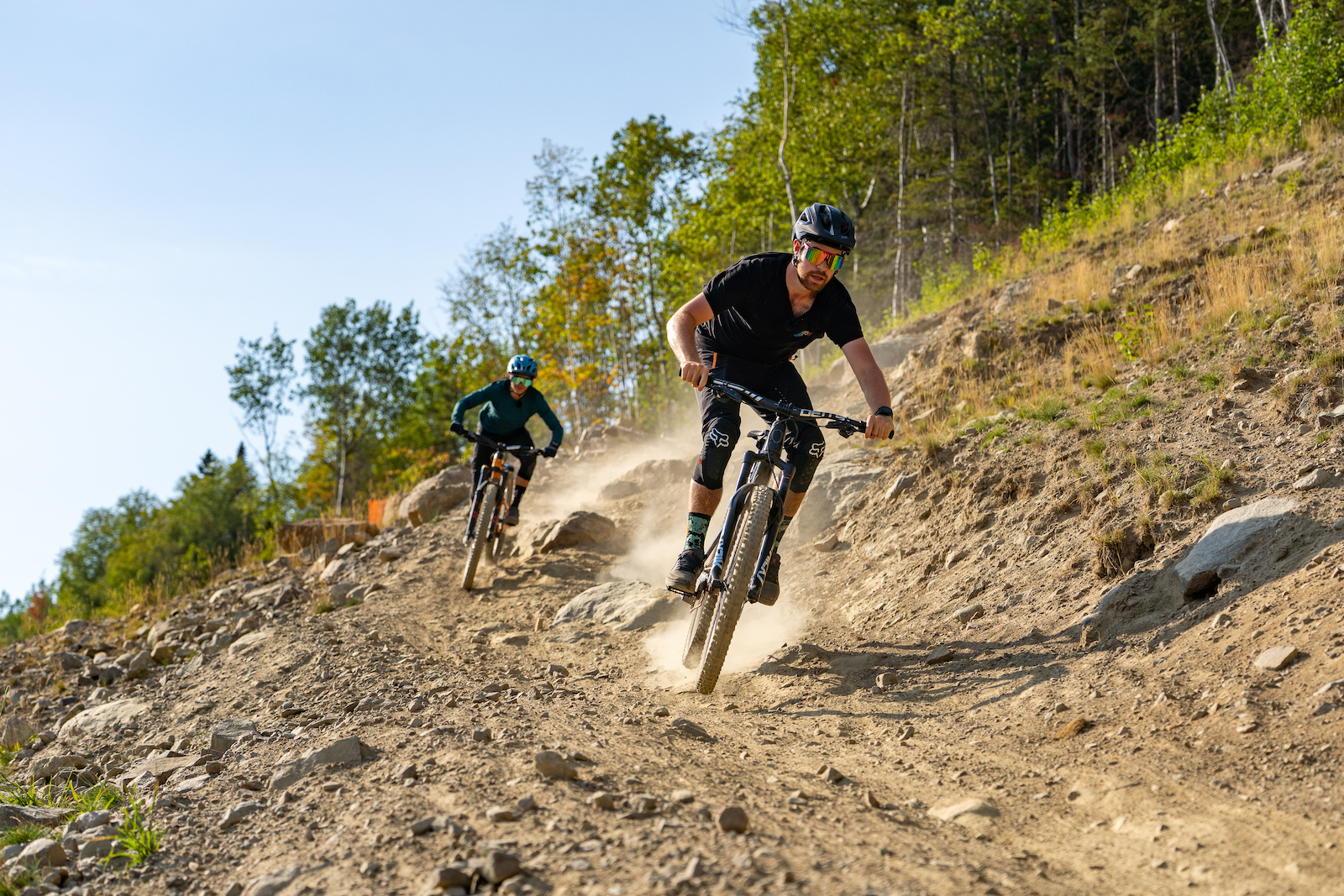 Mountain biking with Christina Chappetta and Jason Lucas at Le Massif de Charlevoix near Quebec City.