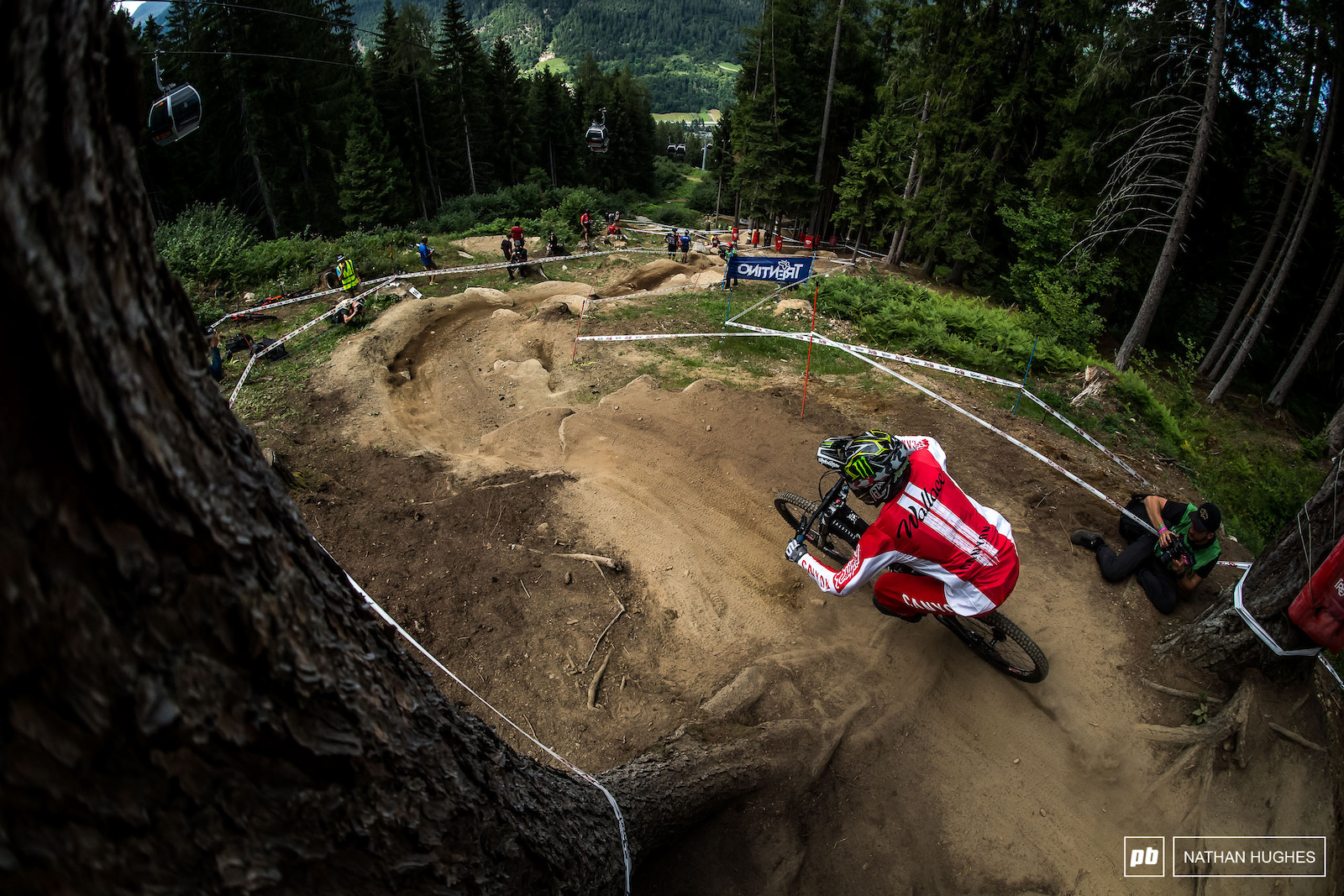 Mark Wallace upping the anti for team Canada coming into one of the many fast and ferocious sections of track.