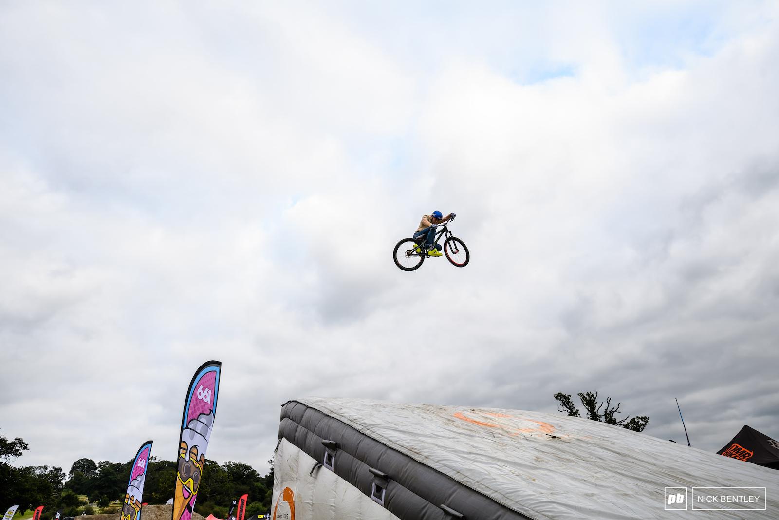 Finn Evans fully sideways and tucked in behind the bike