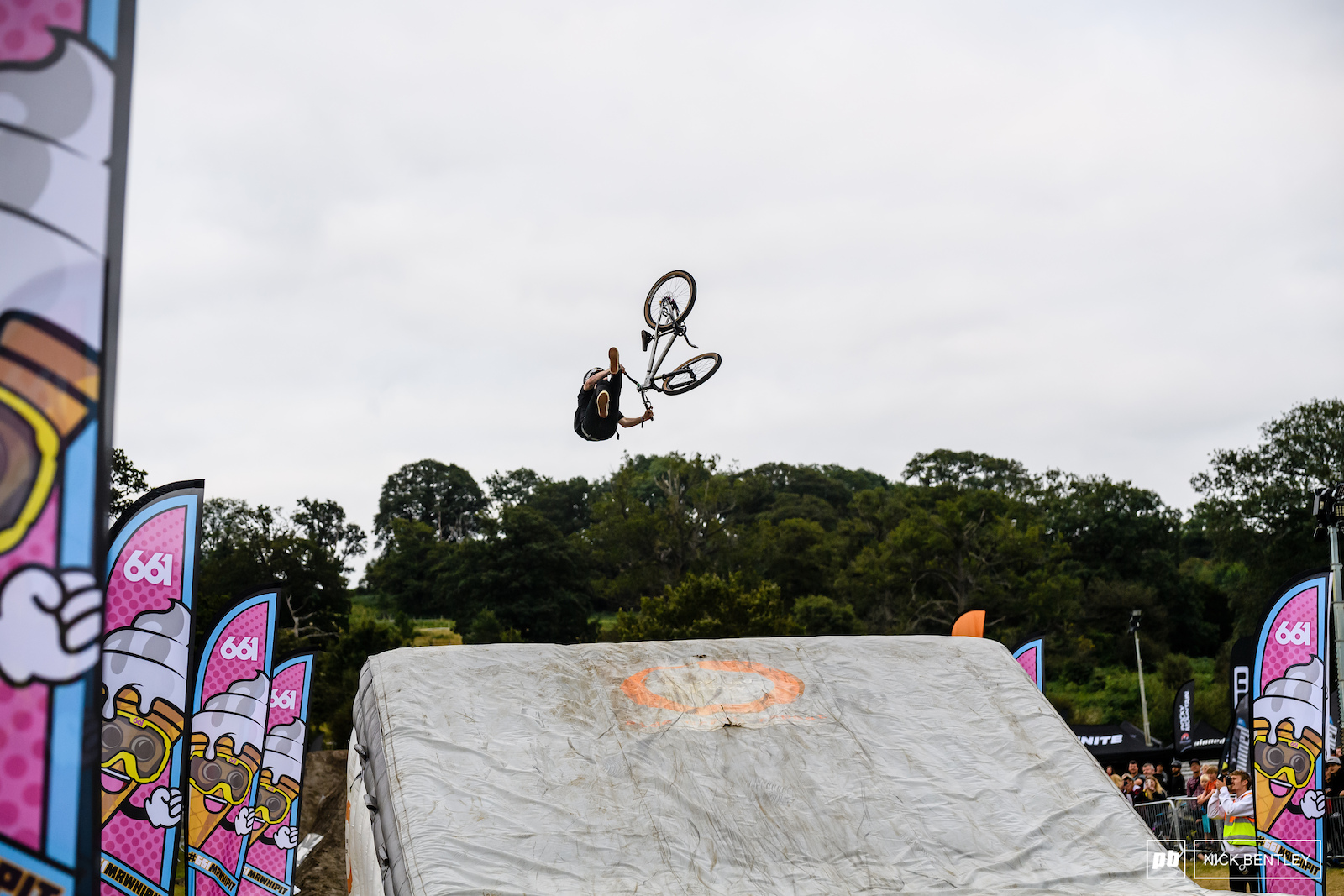 Andy Lehmann getting a bit confused between slope style and whip off sending a huge tail-whip backflip
