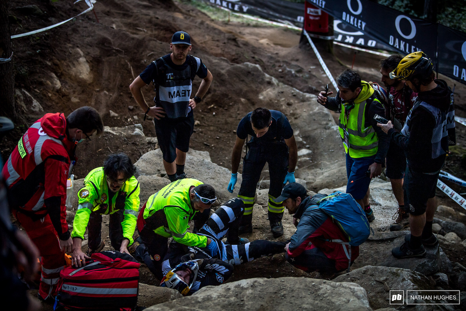 Disturbing scenes but already Brook was telling medics to let him up because he was okay.