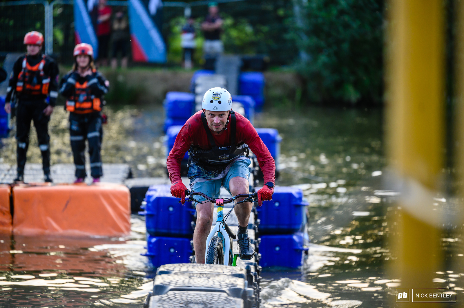 Concentration is everything when you re riding a 30cm wide wet piece of plastic on a wet jumpbike in the middle of a lake