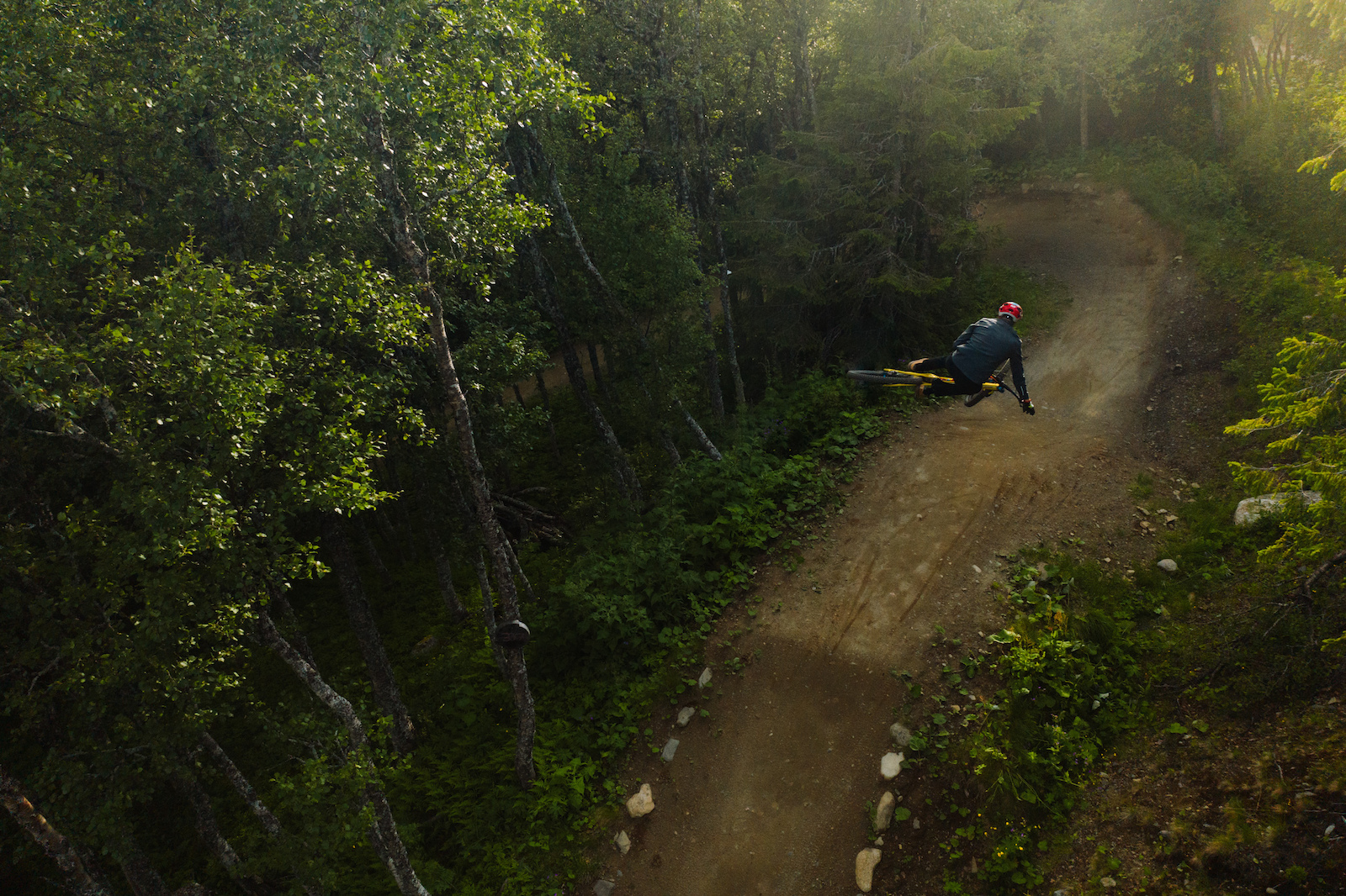Greg Minaar on the Shimano jump trail while on his visit to re Sweden.