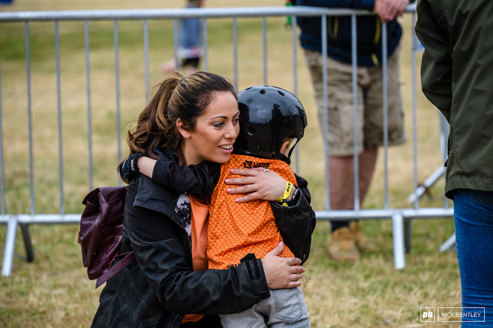 Hugs from Mum at the finish line