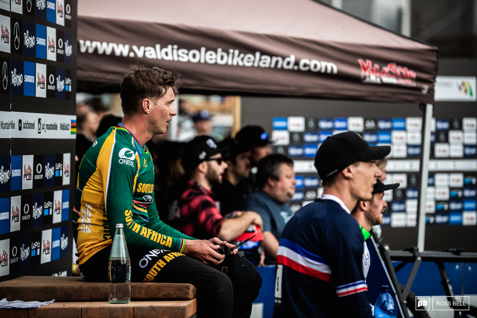 Nervous moments in the hot seat for Greg Minnaar as he watches the last few riders try to beat his time.