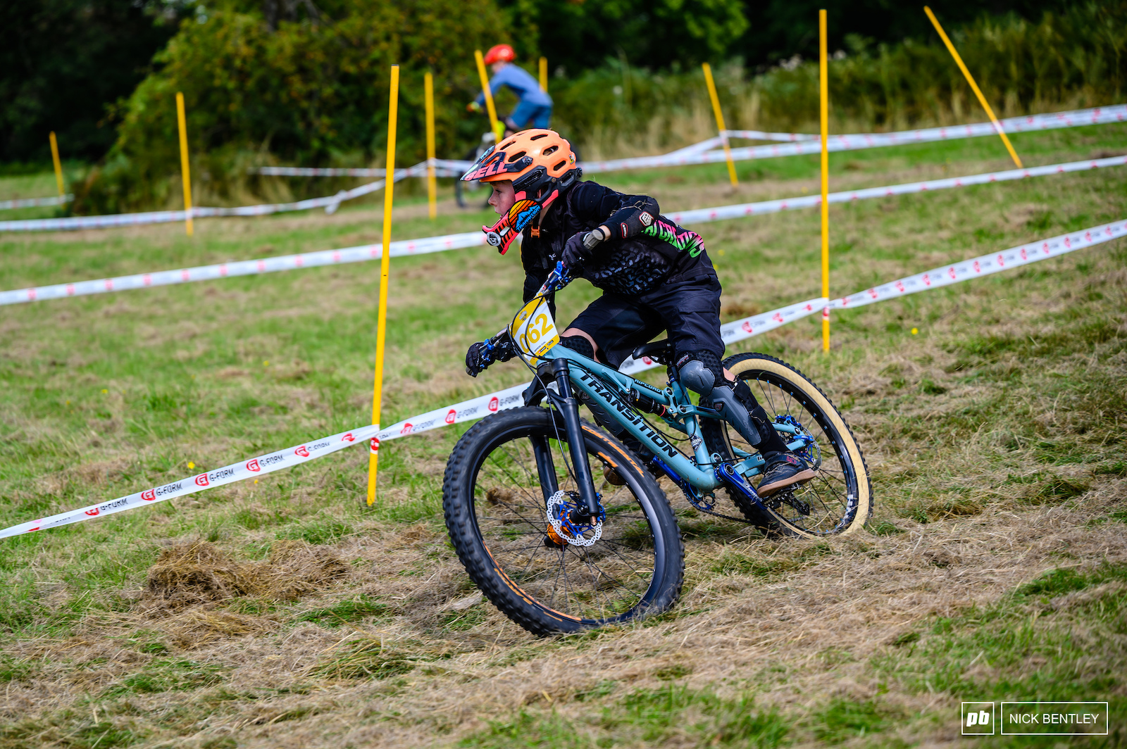 AJ Lewendon carving the corners of the Dual Slalom course