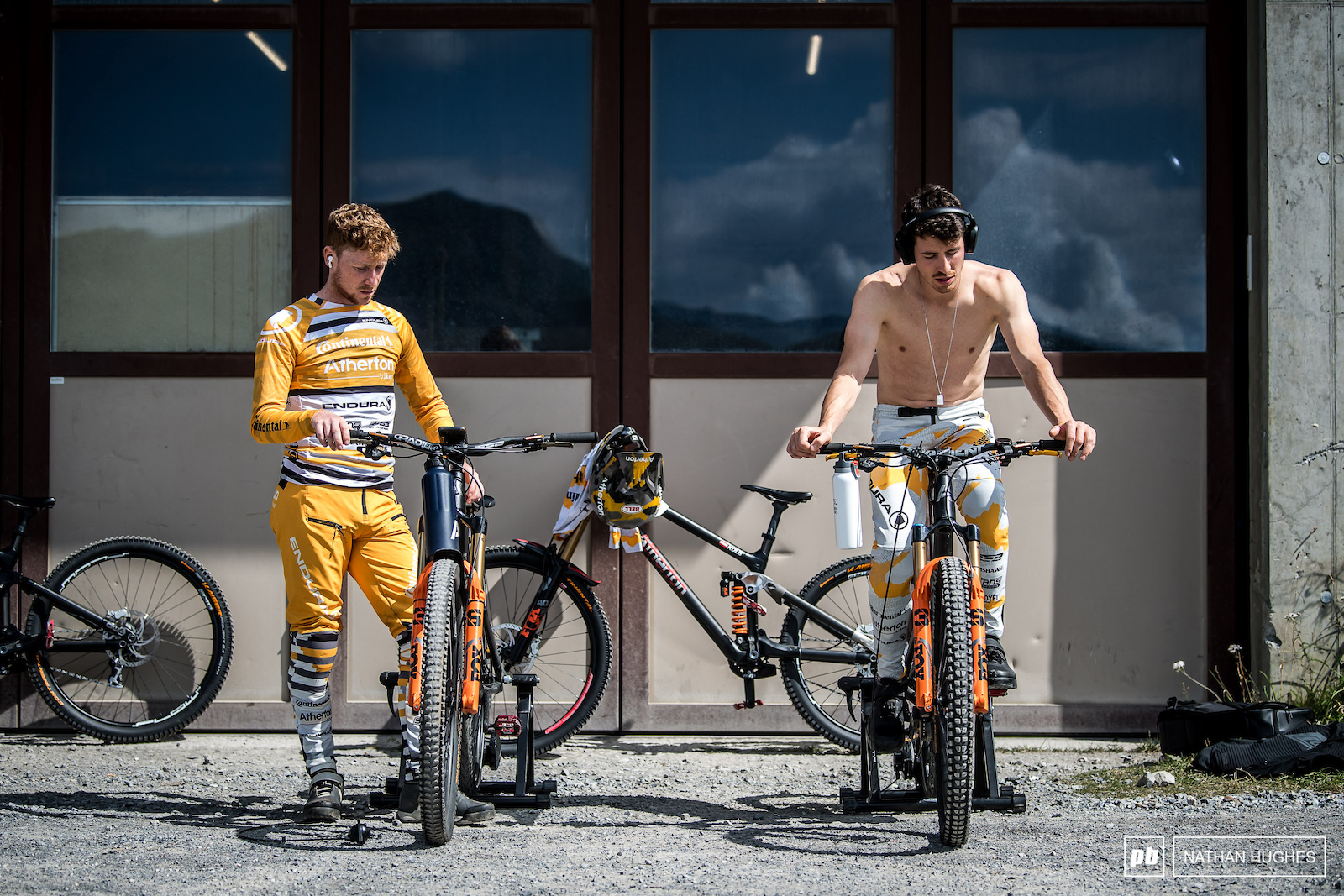 Dan and Gee Atherton get ready for work on this fine and sunny day.