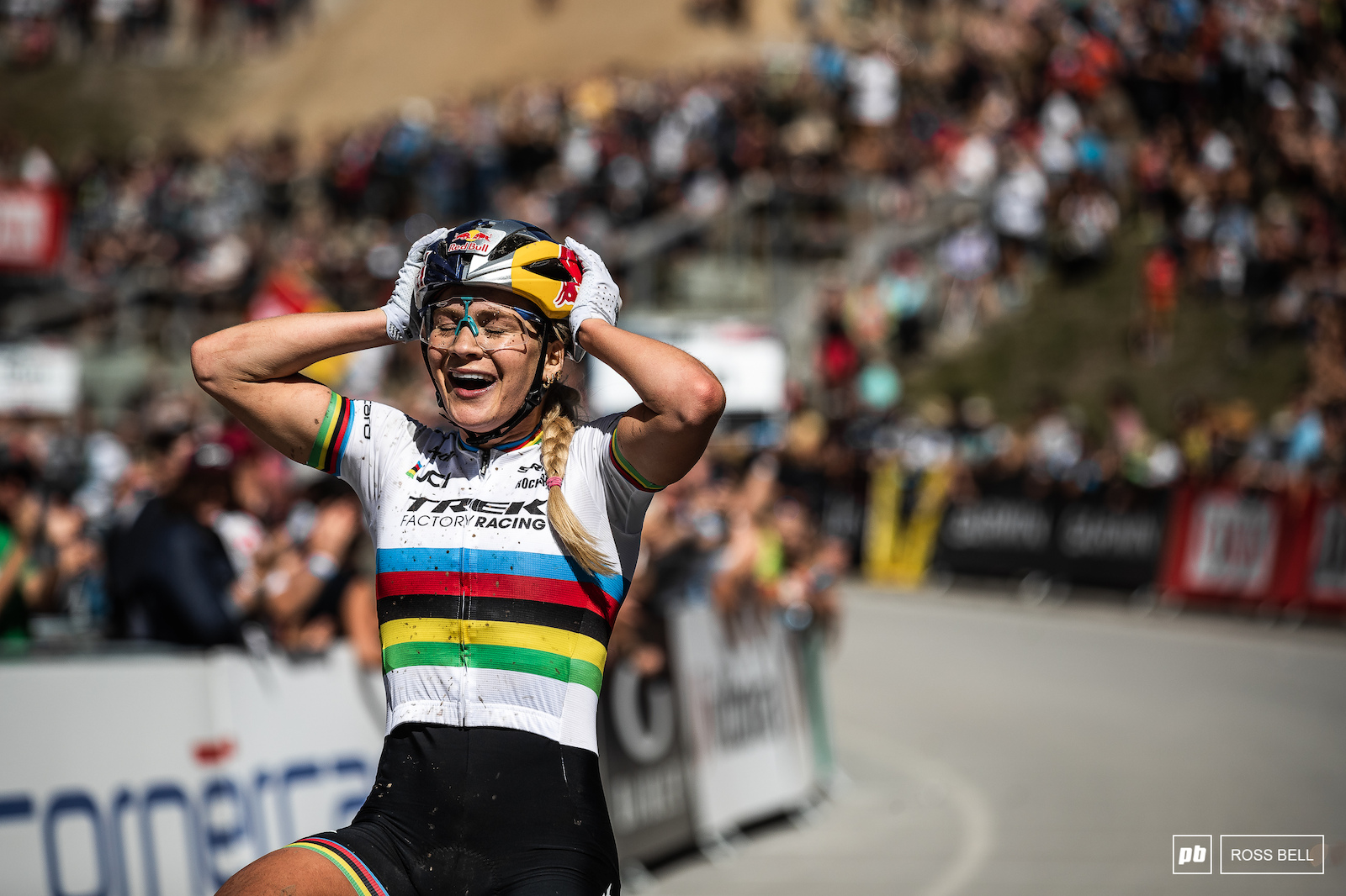 Sheer disbelief as Evie Richards takes her first elite World Cup win just a week after taking the rainbow stripes.