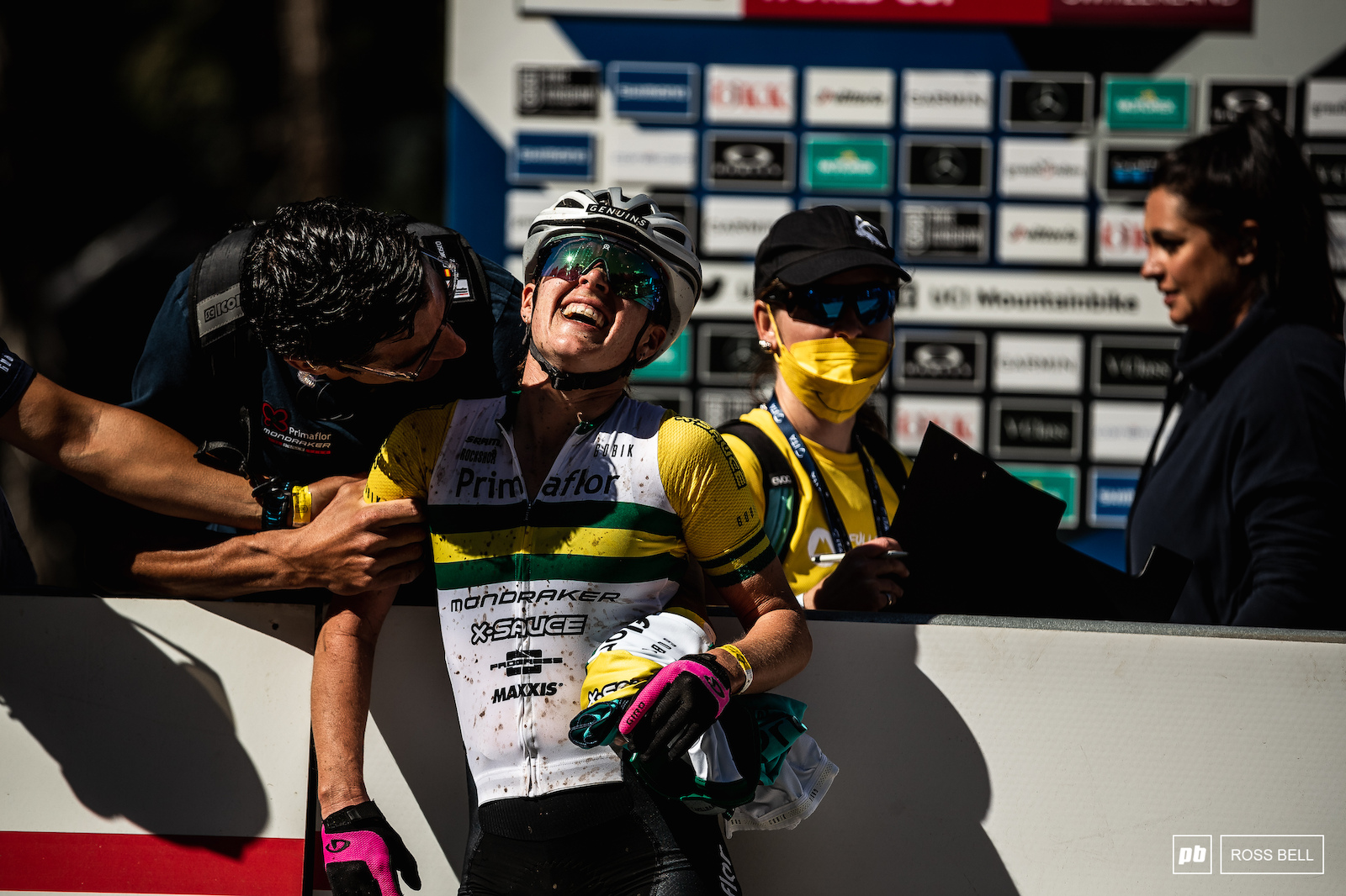 Rebecca McConnell exhausted and ecstatic as she rode into second place.