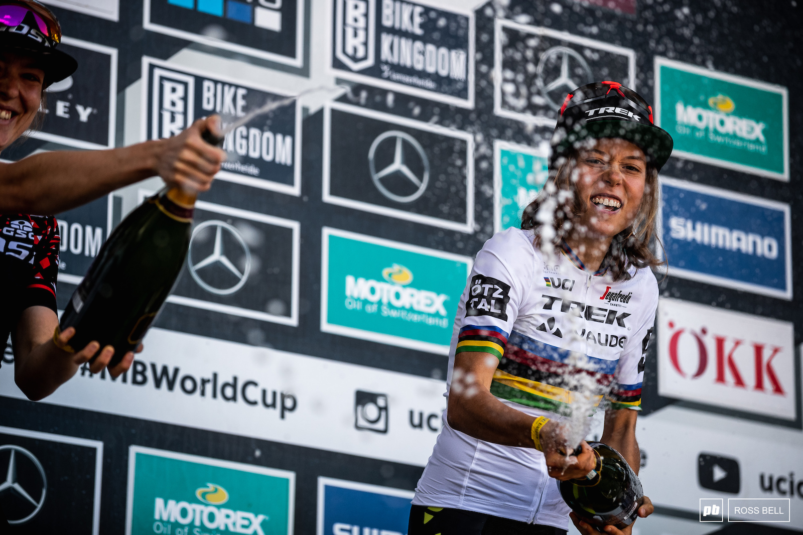 It s safe to say Mona Mitterwallner s champagne spraying skills have come on leaps and bounds this season.