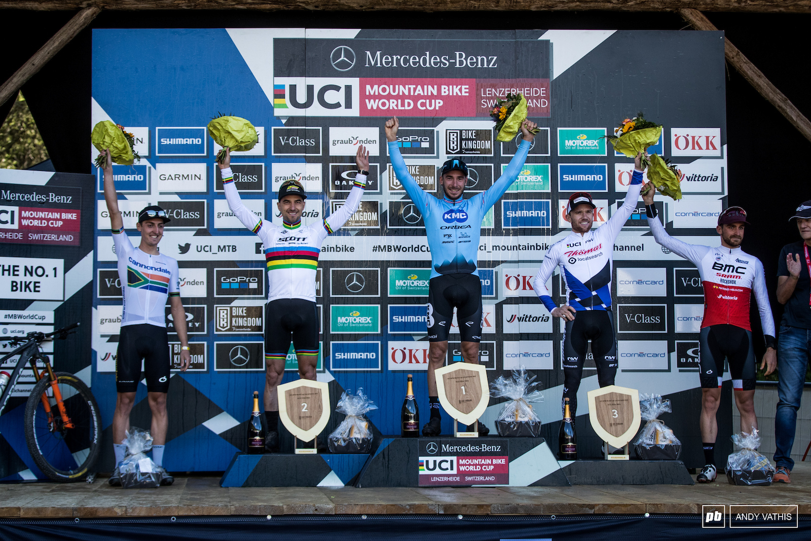 Your Elite Men s podium 1st Victor Koretzky 2nd Nino Schurter 3rd Mathias Flueckiger 4th Alan Hatherly and 5th Titouan Carod
