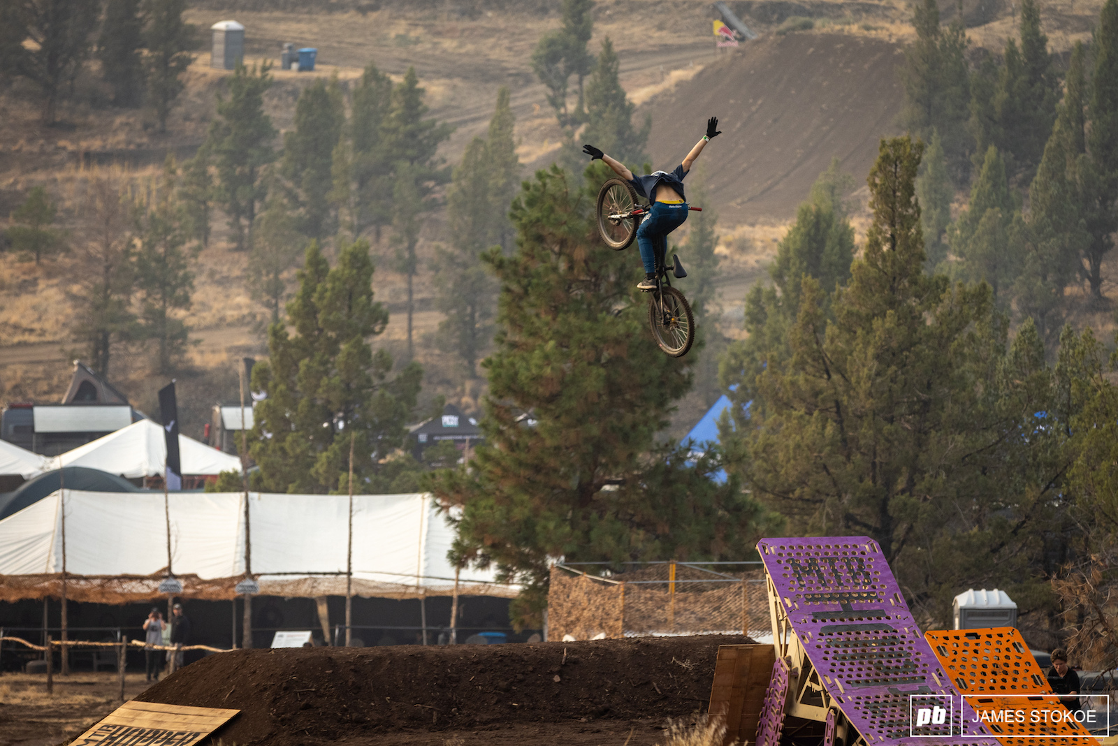 Jaxon Riddle was all over the bottom half of the course. Here you see him checking out the MTB Hopper.