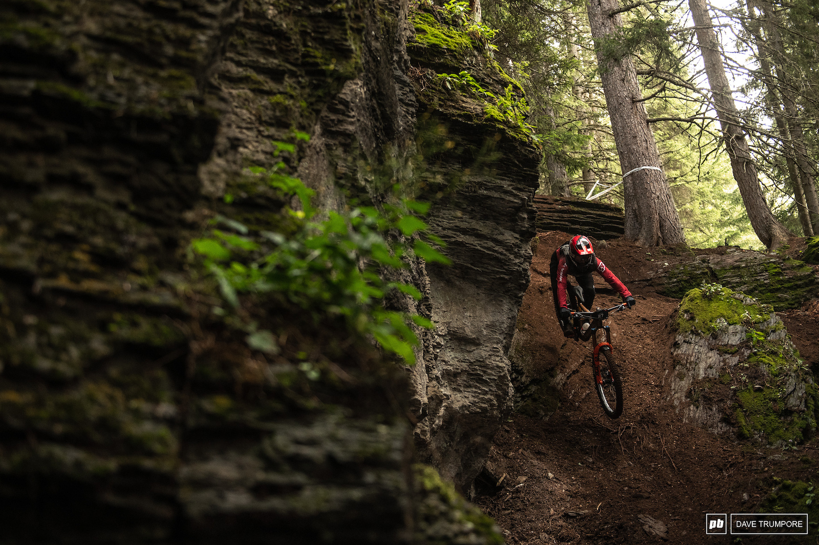Damion Oton through the steep gully on the Pro Stage that will be raced Friday afternoon