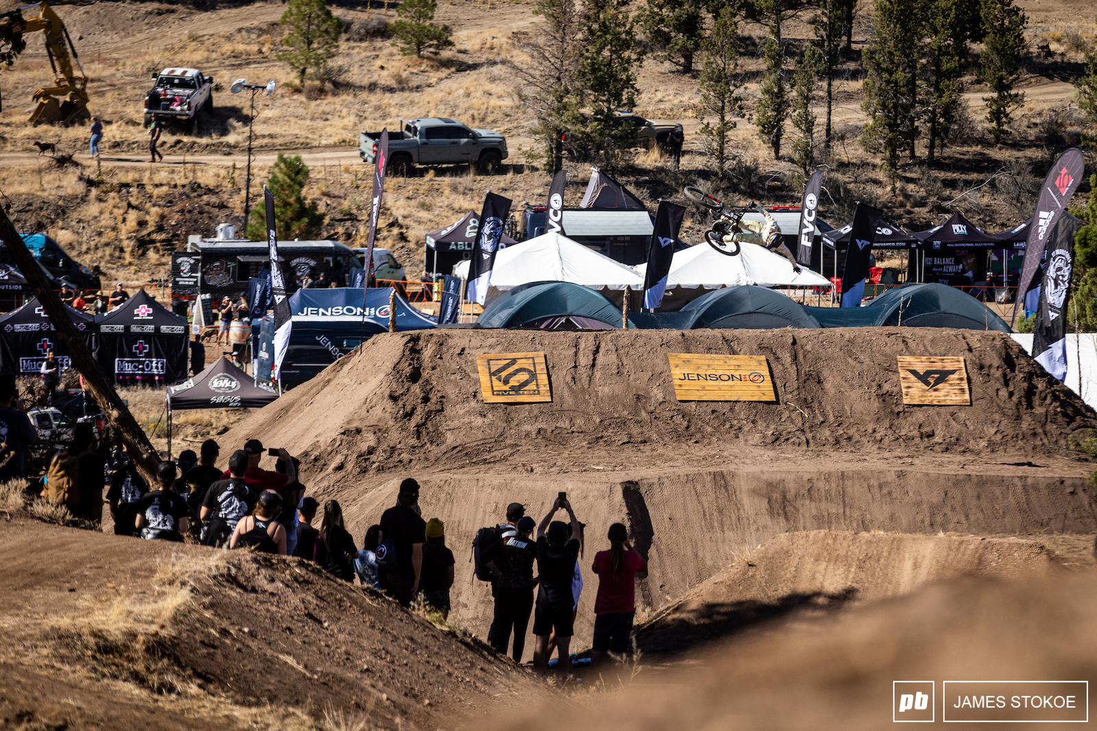 Dylan Stark one-handed backflip on the last feature.