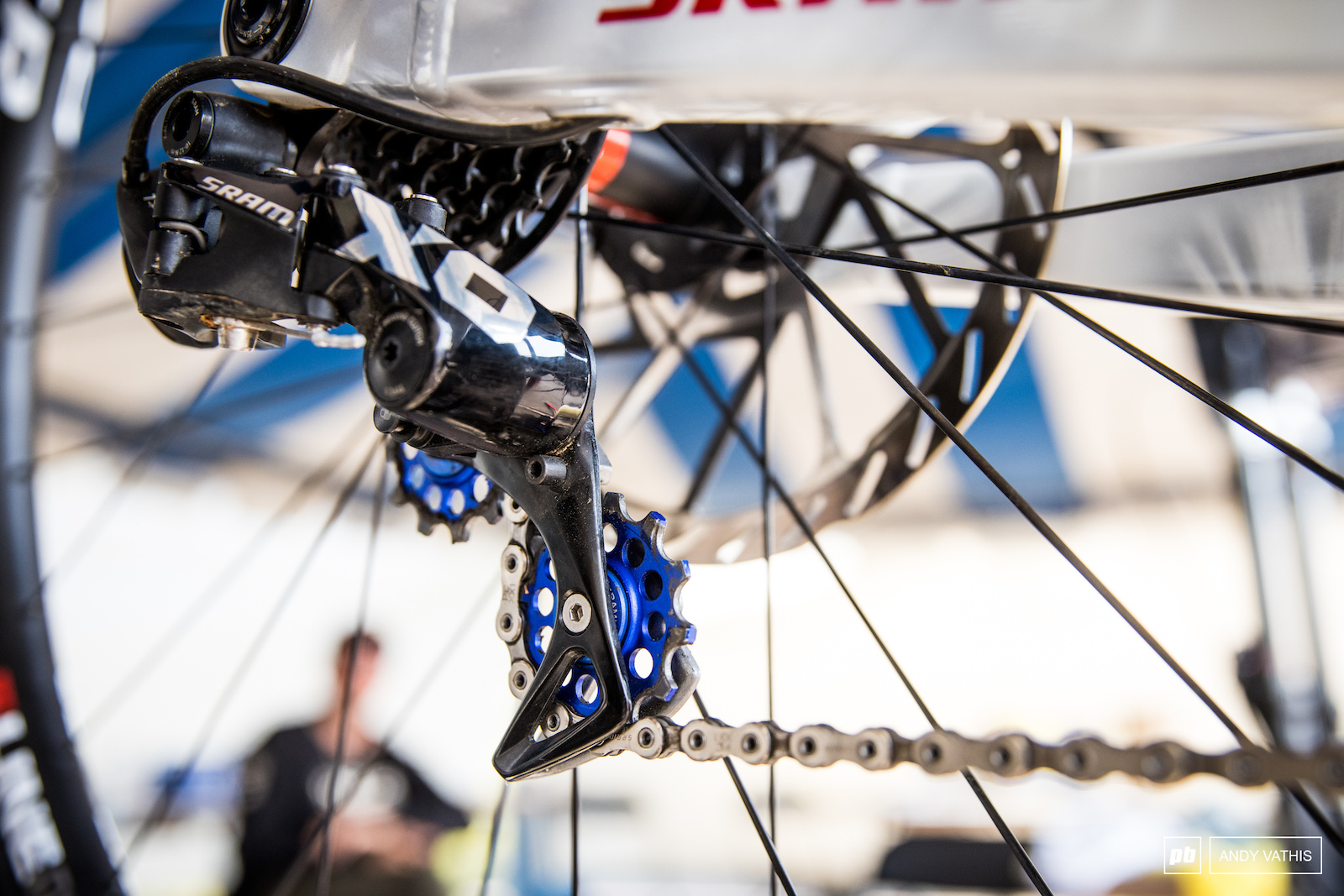 Chuck s bike also gets some touches of America for derailleur pulleys.