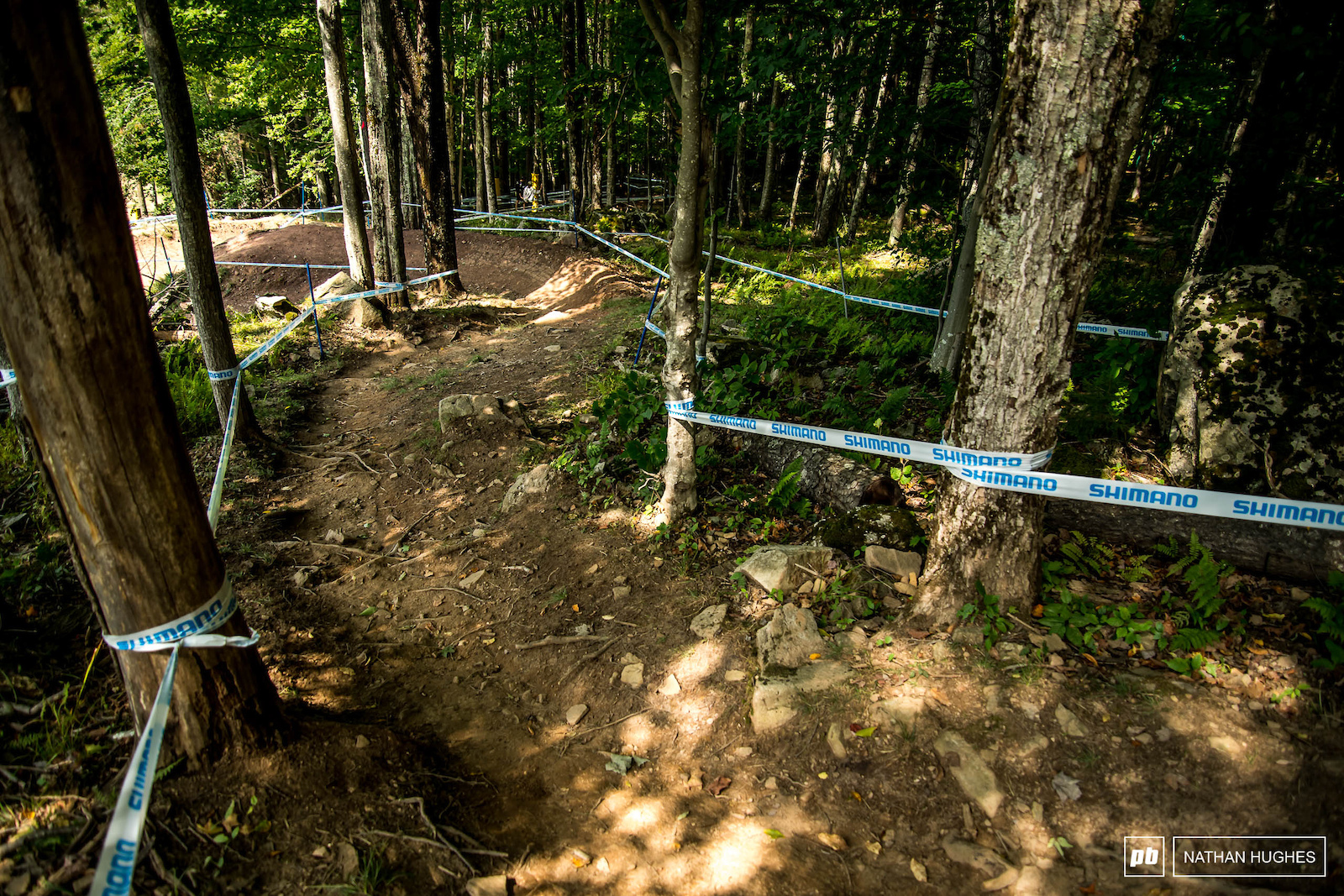 As smooth as it gets on this track before trouble builds for riders down-course.