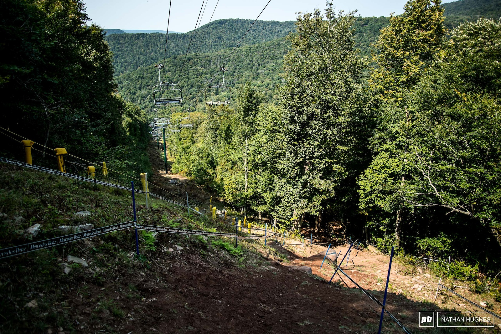 The steep section is taped pretty curiously this race.