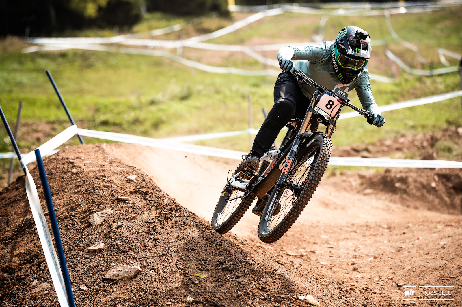 Marine Cabirou powering out of one of the top turns.