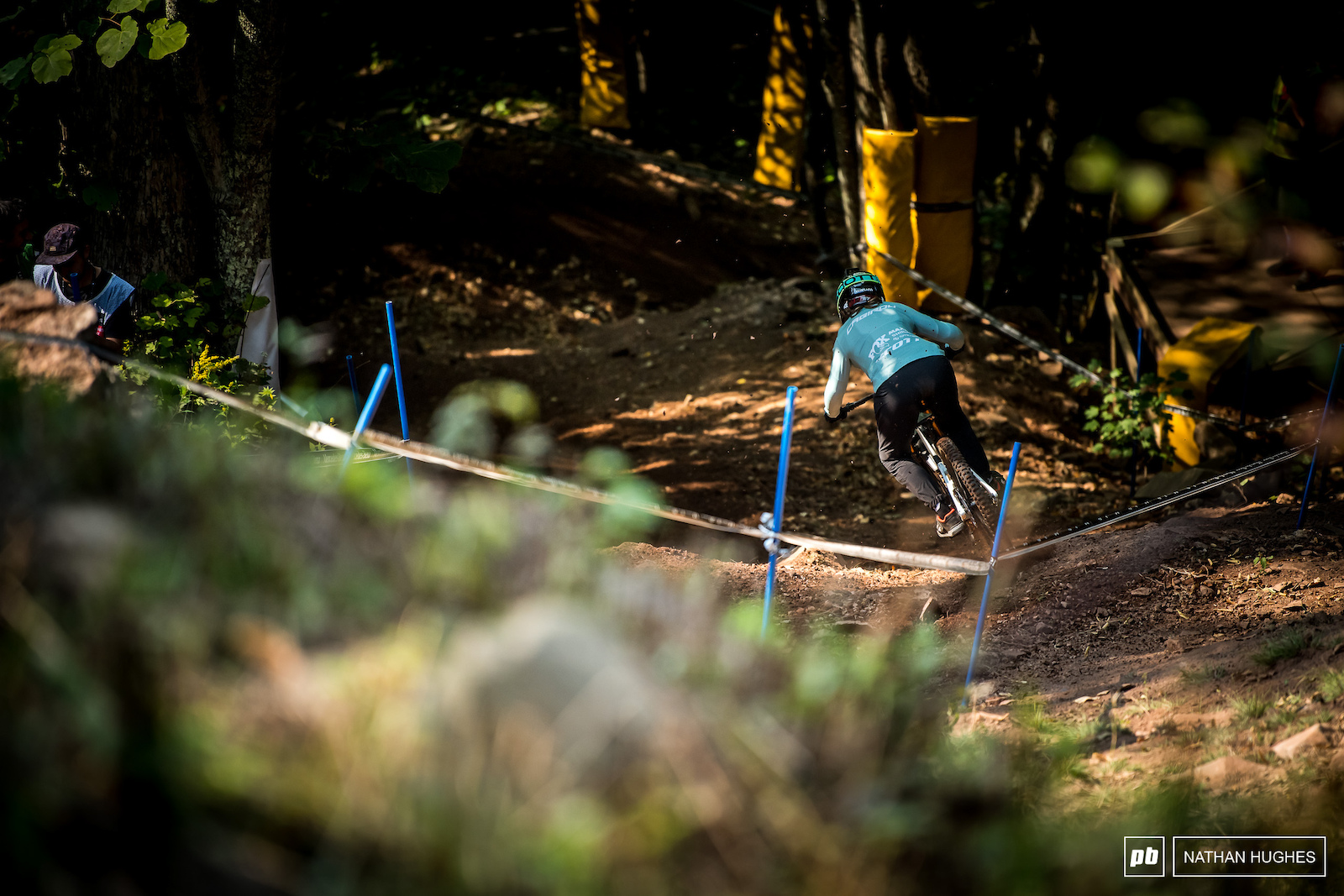 Marine Cabirou charging down the gnarly mid-track chute.