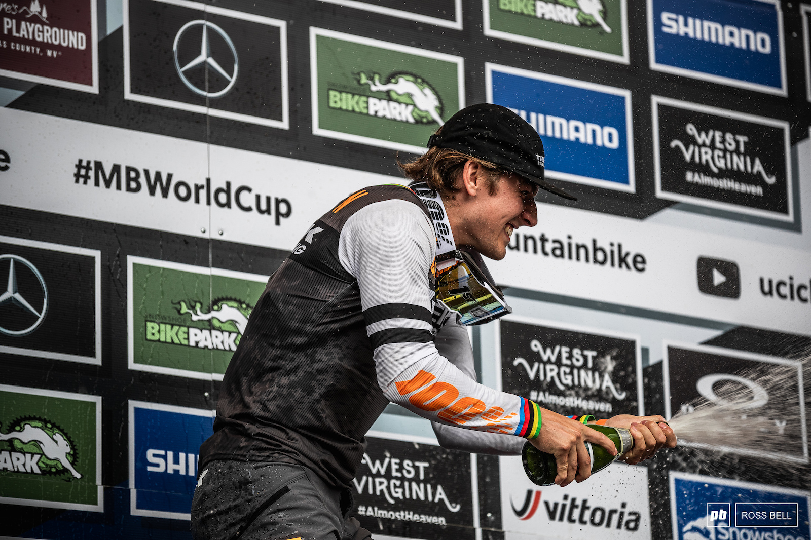 Reece Wilson gets to spray that World Cup winner s champagne for the very first time.