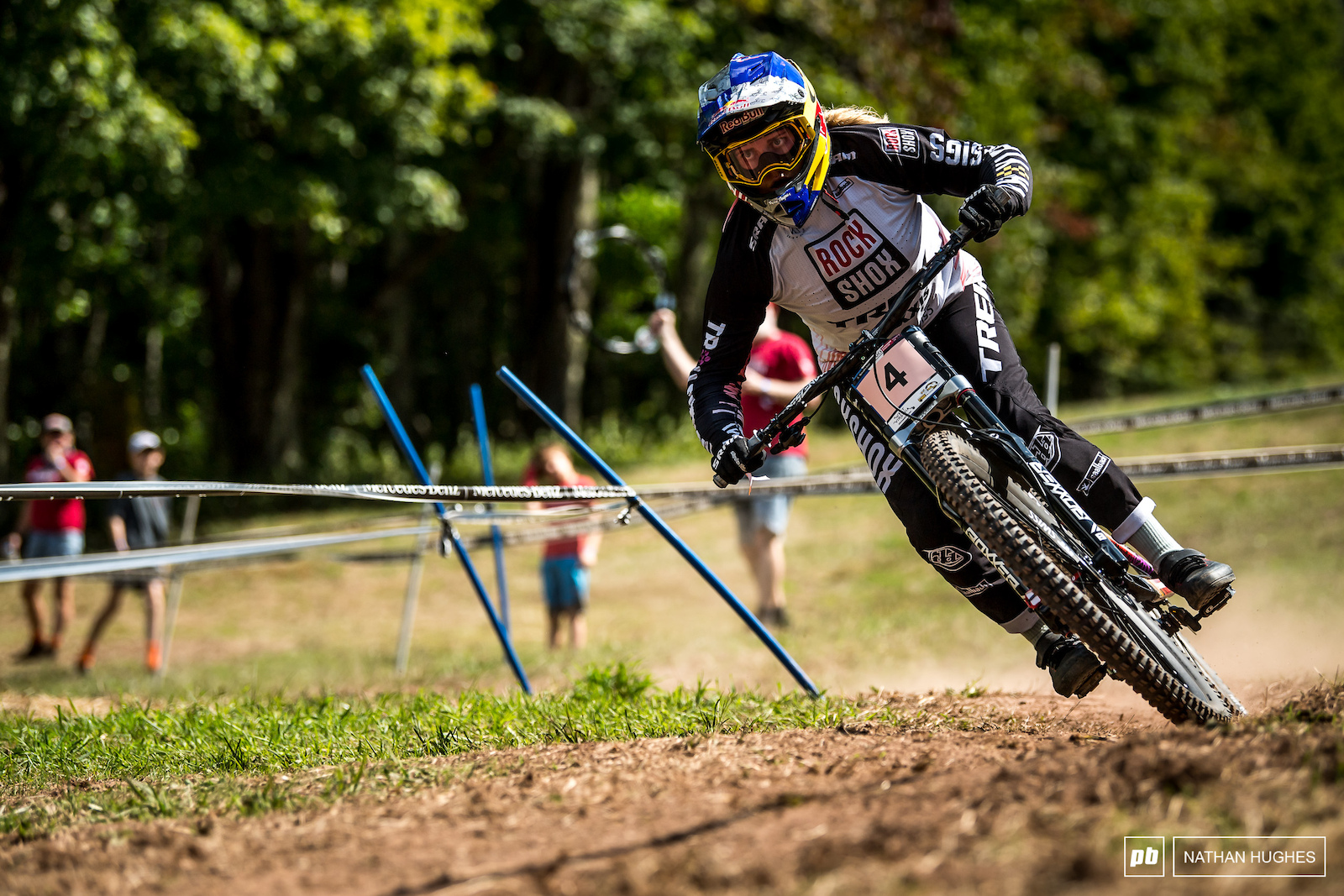 Vali Hoell gripping and ripping on the formerly dreaded final turn .