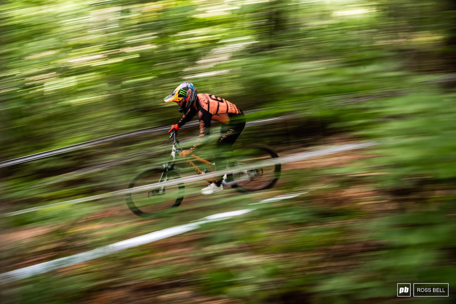 Troy Brosnan darting through the lush green of West Virginia.