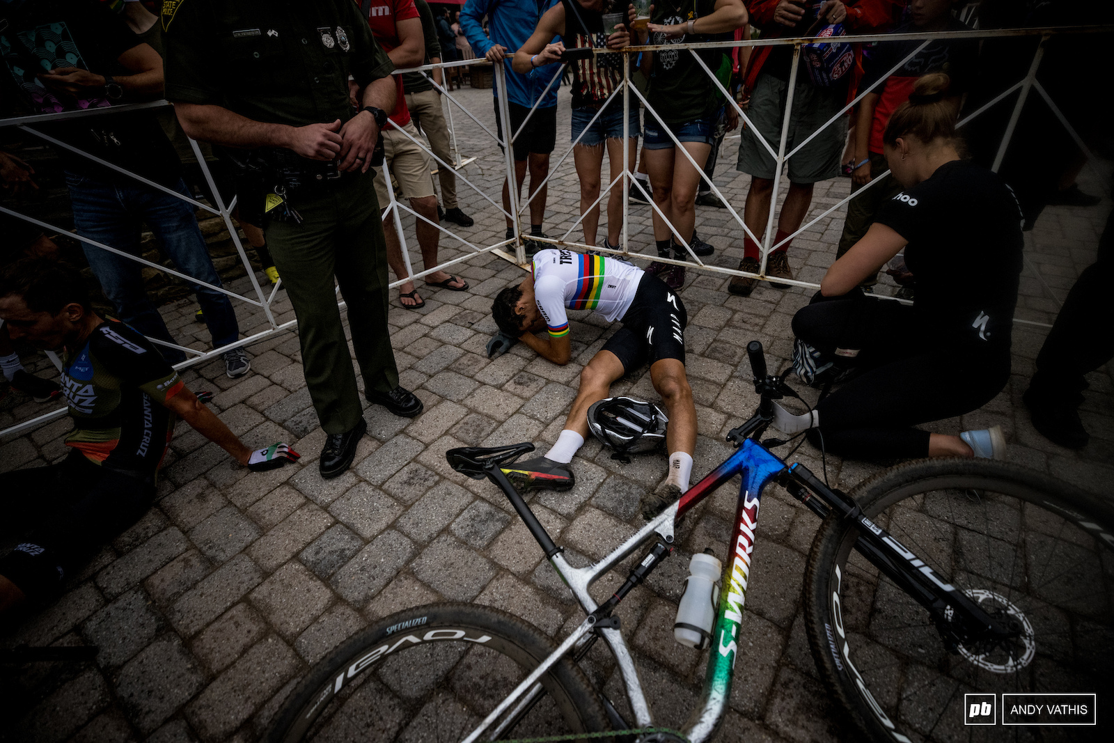 Chris Blevins in a world of pain after some gruelling racing and a three way sprint finish.
