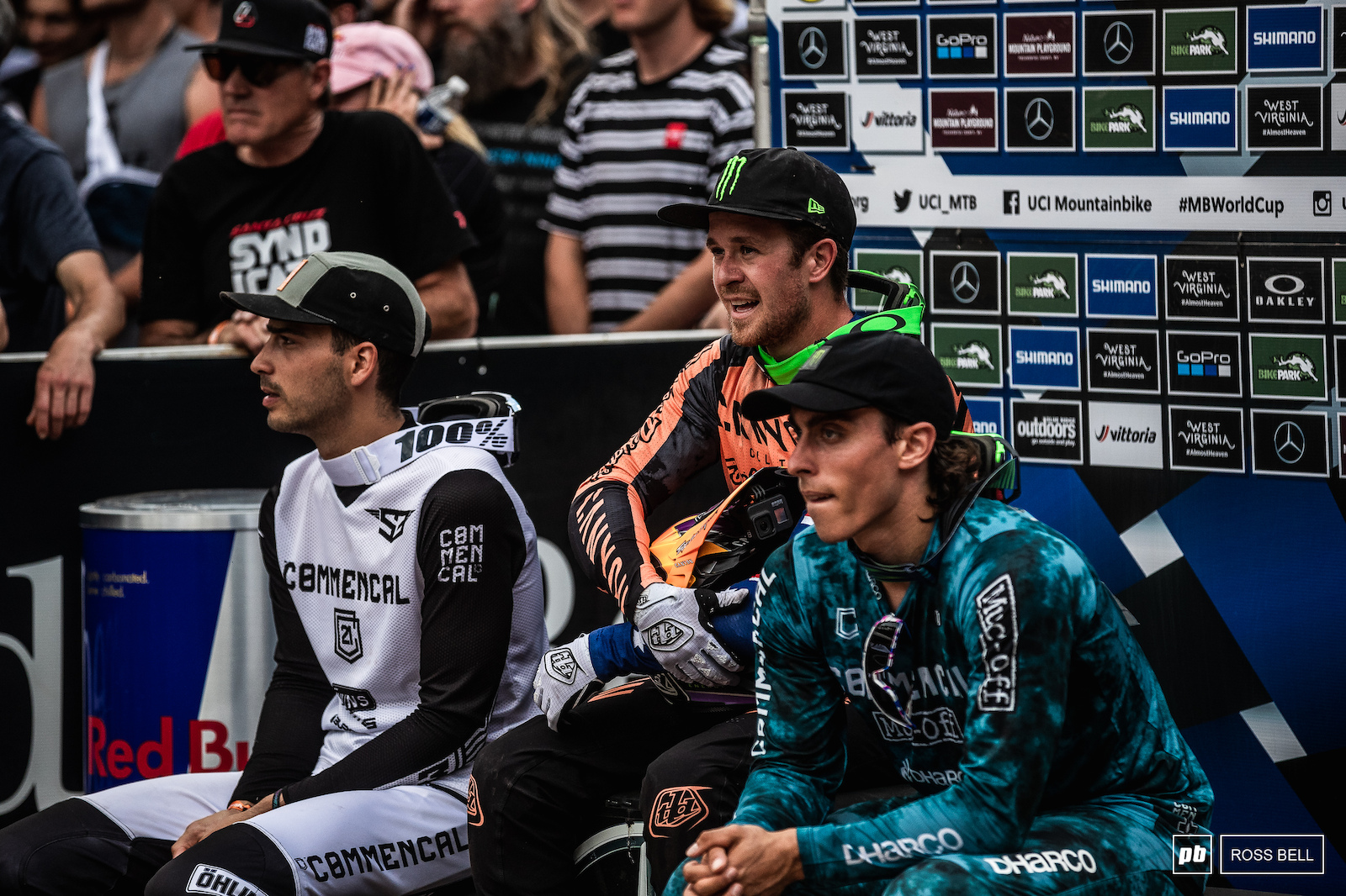 Nervous moments for Troy Brosnan on the hot seat as he waits for Loic Bruni to complete his run.
