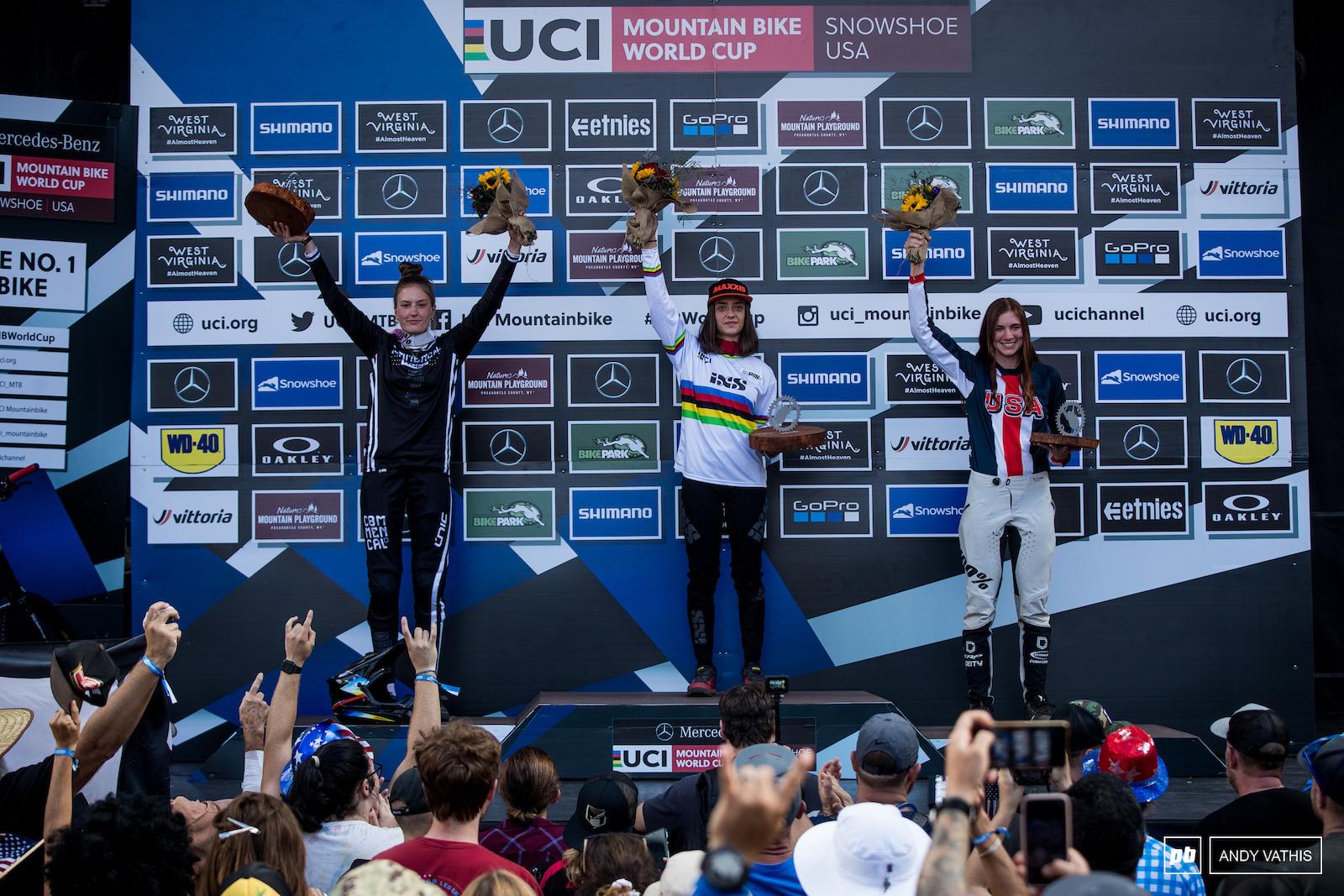 Your women junior podium 1st Izabela Yankova 2nd Siel Van Der Velden and 3rd Ella Erickson