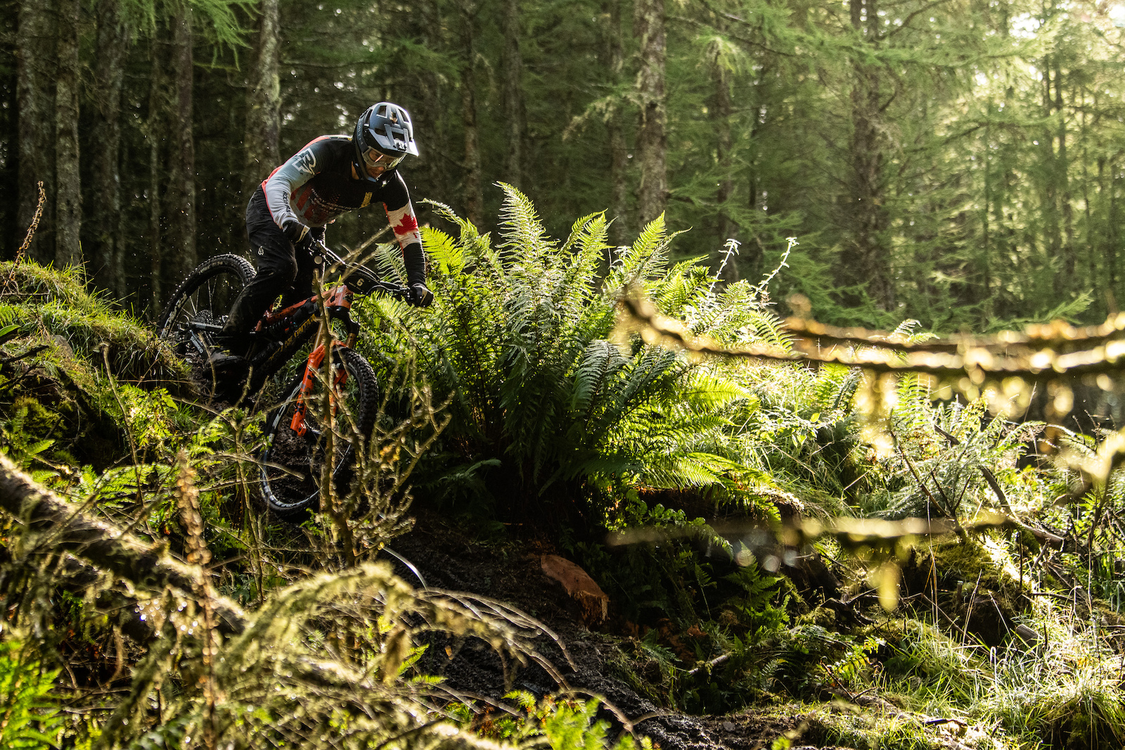 Remi Gauvin through the rain forest on Stage 2