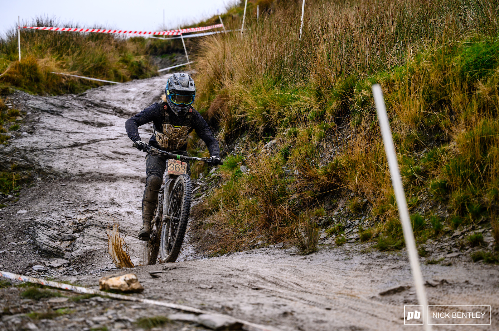 The afternoon began with a rain shower which left plenty of slick wet rocks and puddles for the riders to navigate