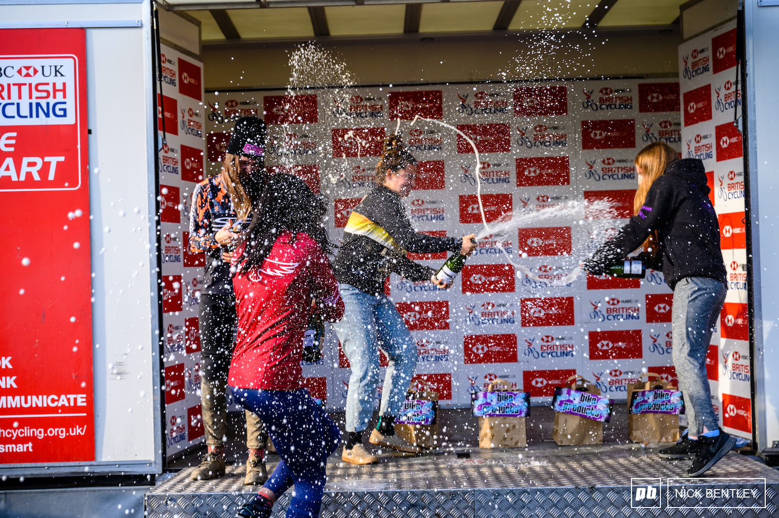 The Open Women weren t shy in spraying the Nosecco everywhere